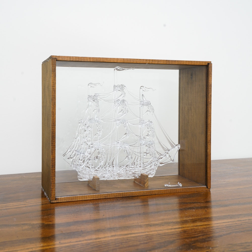 Hand Formed Glass Figurine of a Galleon