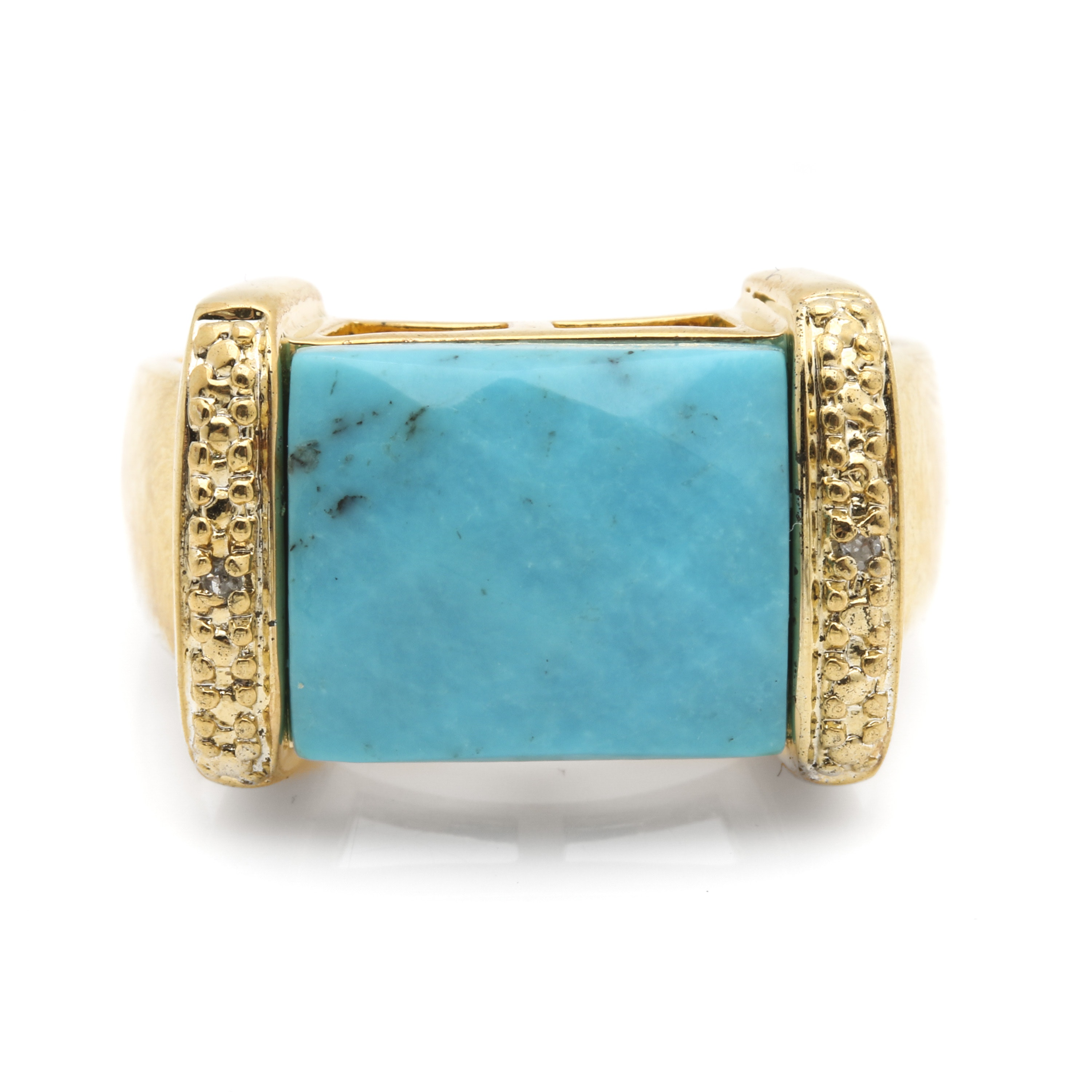 Sterling Silver Gold Wash Turquoise and Diamond Ring