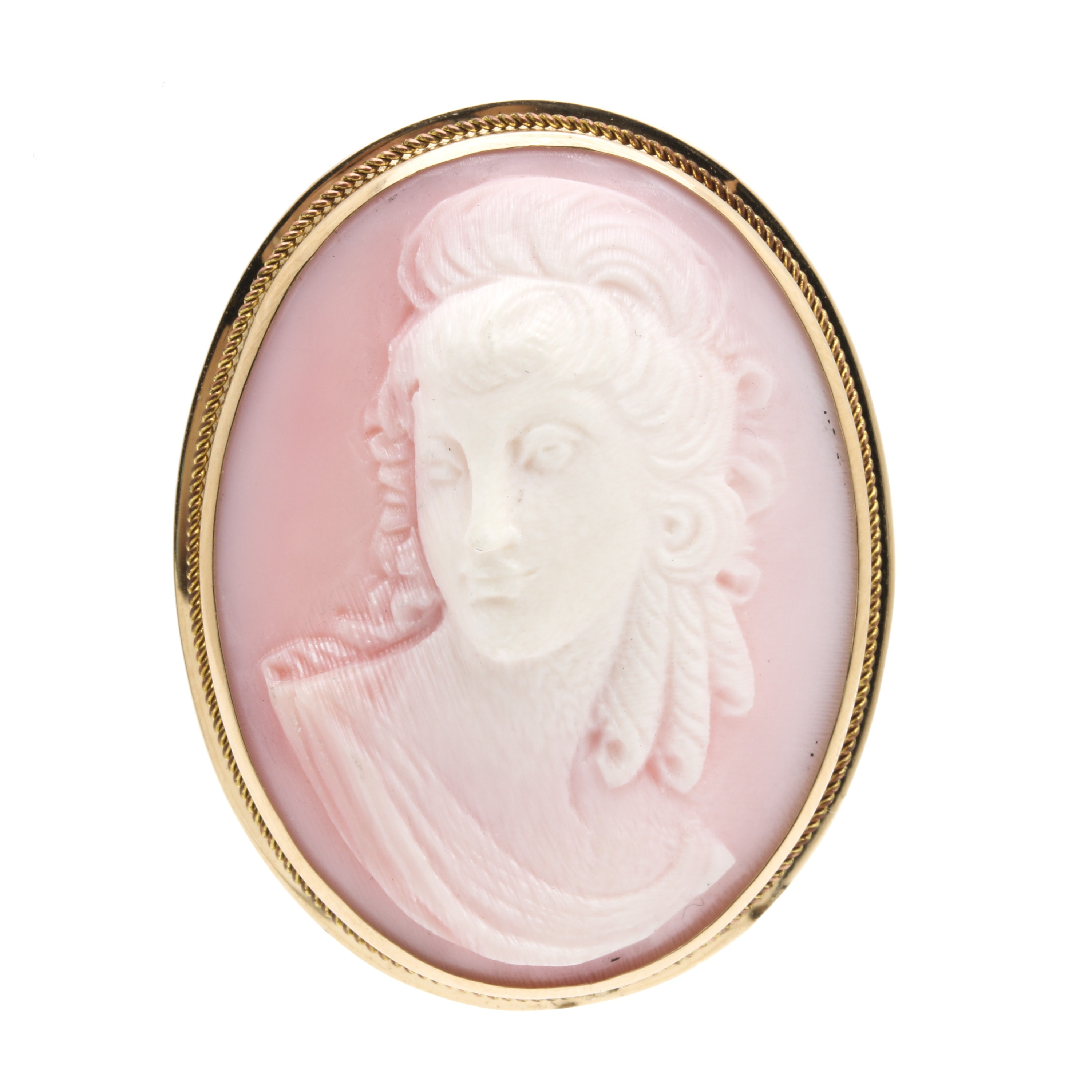 14K Yellow Gold Conch Shell Cameo Converter Brooch
