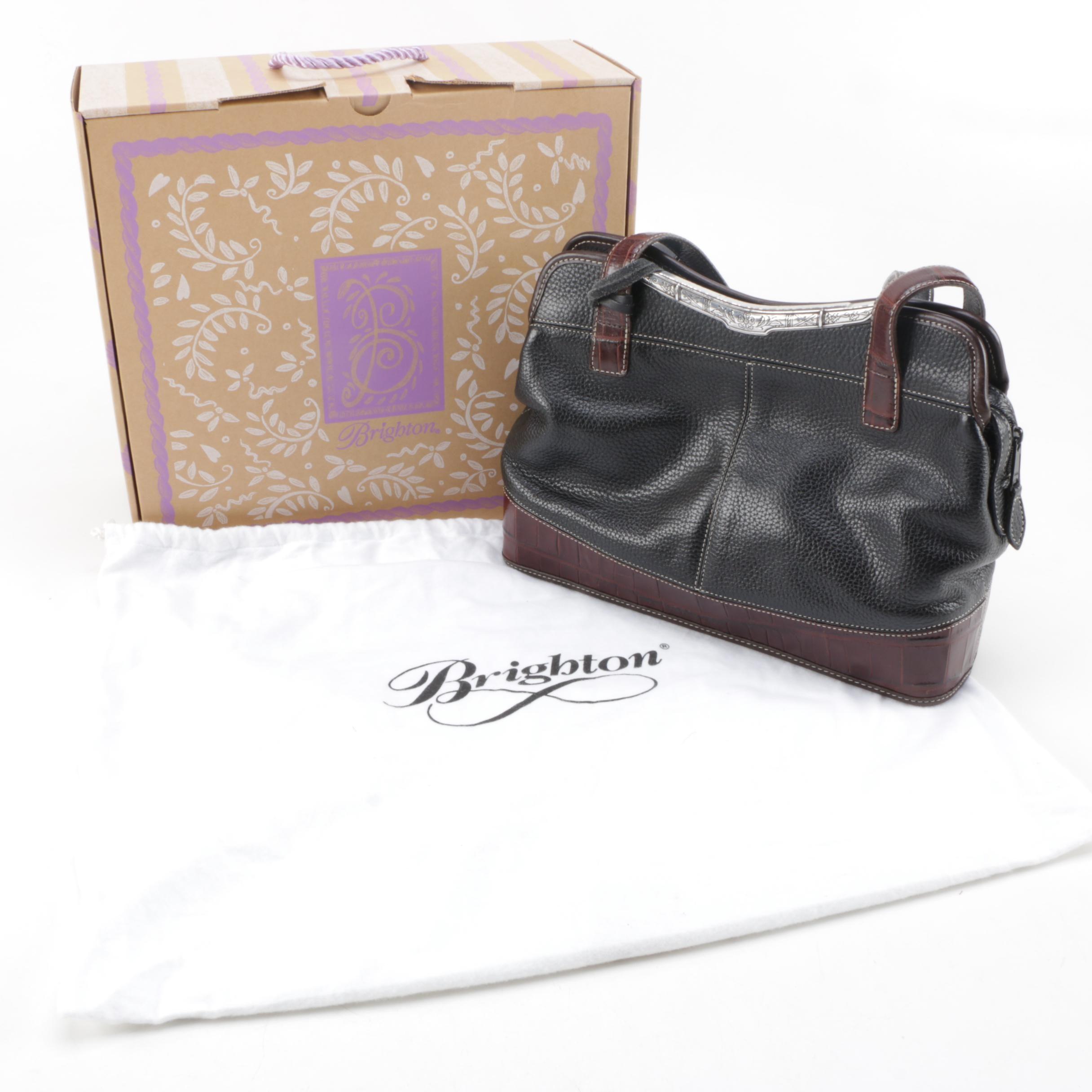 Brighton Black and Brown Leather Handbag