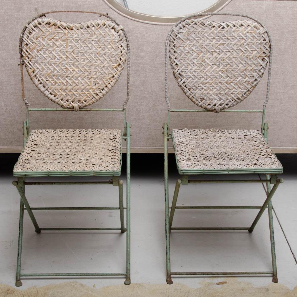 vintage french caned steel folding chairs by un jardin en plus ebth. Black Bedroom Furniture Sets. Home Design Ideas