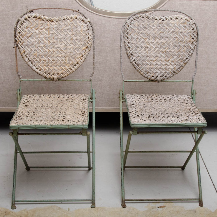 vintage french caned steel folding chairs by un jardin en plus ebth. Black Bedroom Furniture Sets. Home Design Ideas