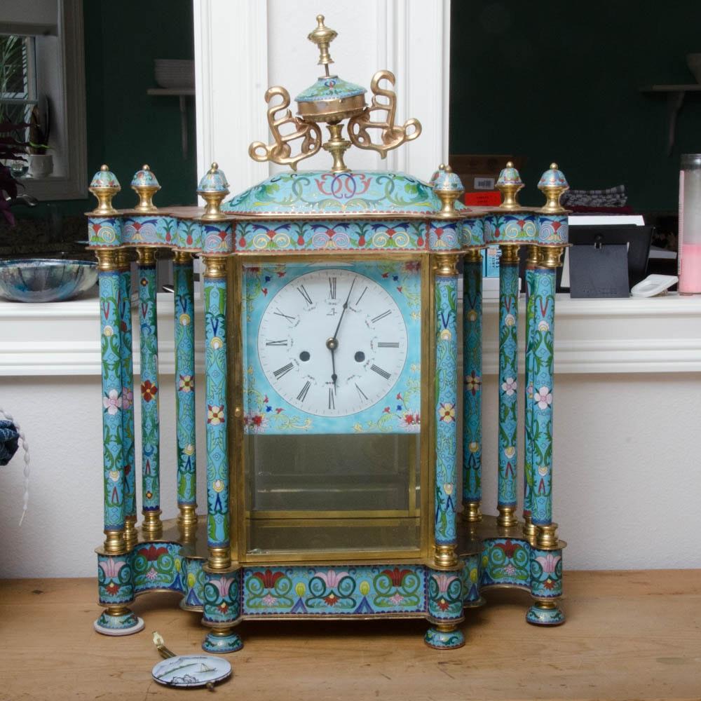 Cloisonne Enamel Pillar Mantel CLock