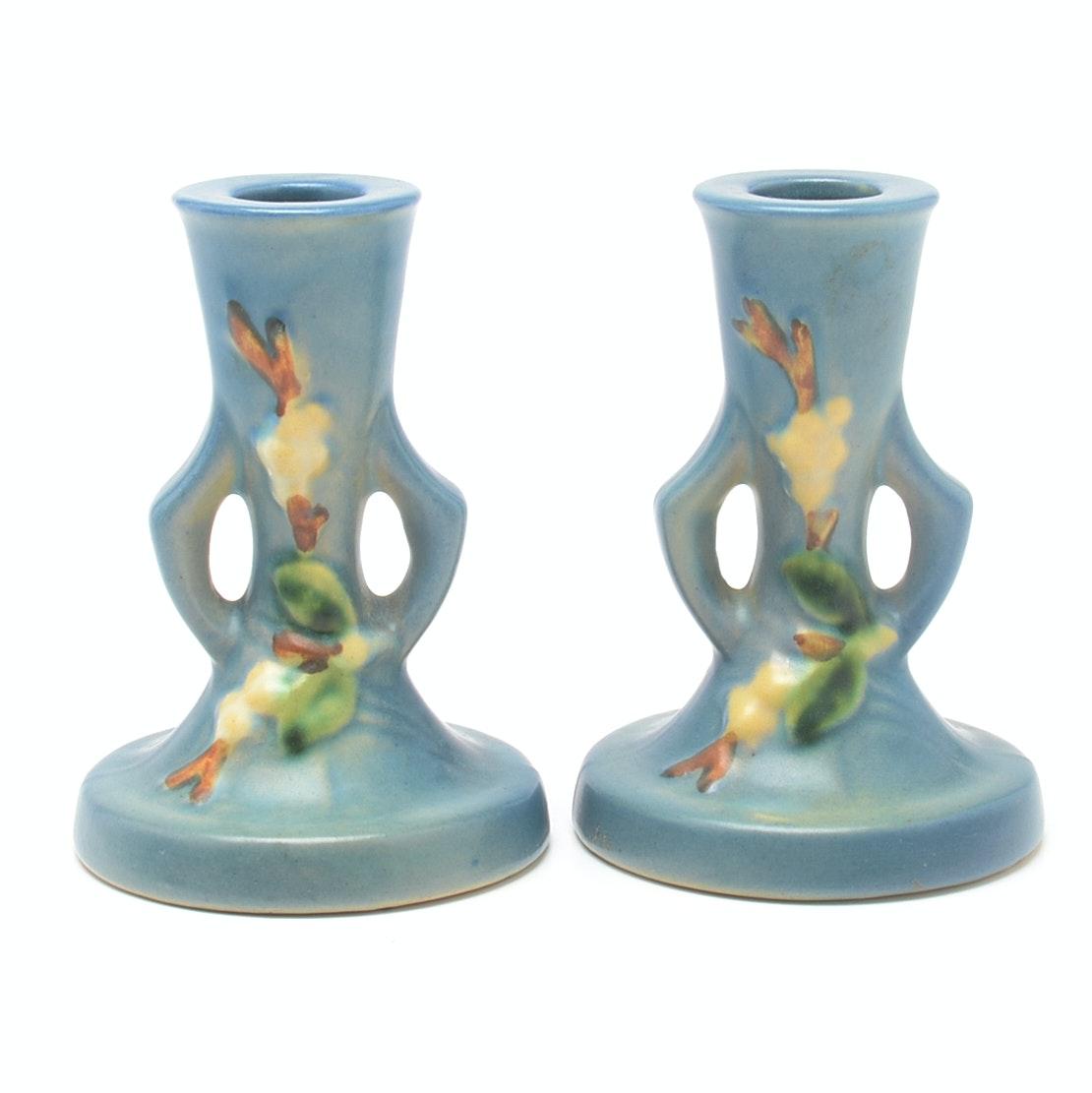 "Roseville Pottery ""Snowberry"" Candlesticks"