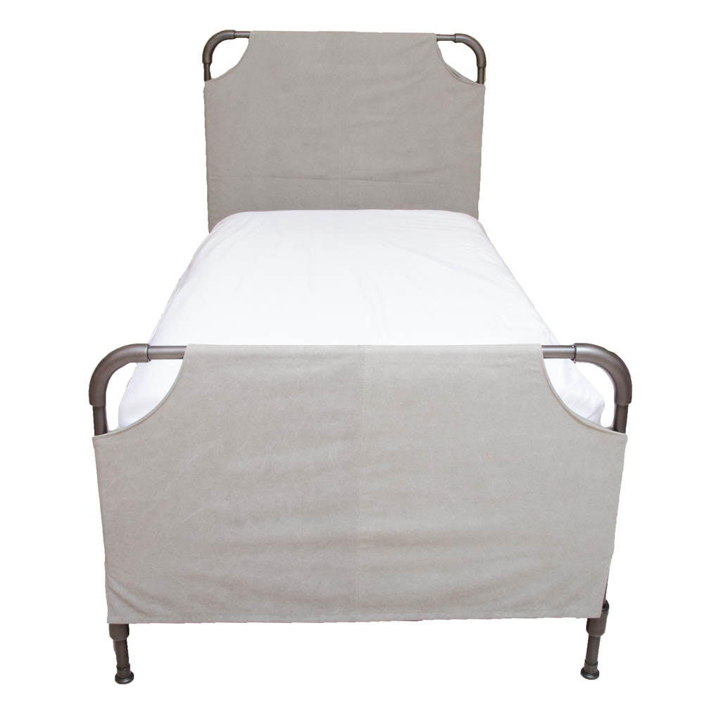 Metal and Cloth Twin Bed Frame by Restoration Hardware