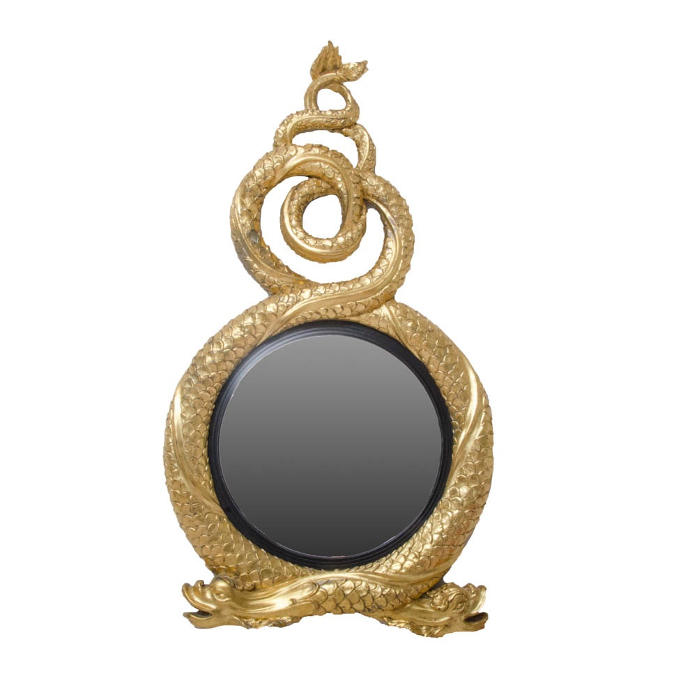 Regency Style Gold-Toned Serpent Wall Mirror