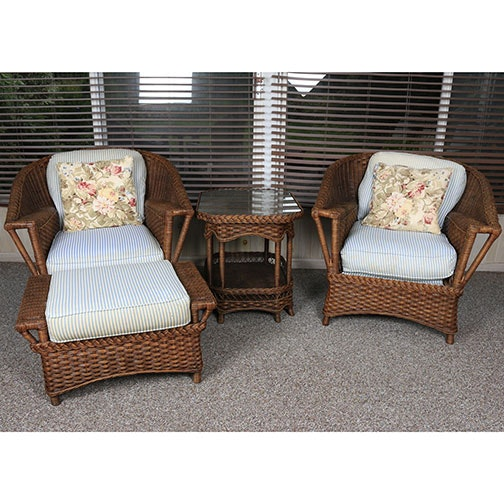 Vintage Rattan Chairs With Stool And Table ...