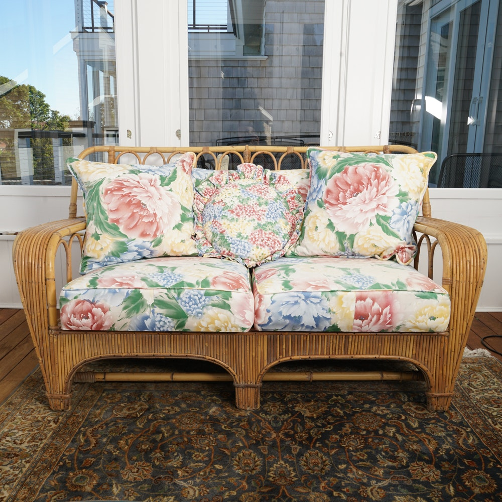 Vintage Rattan Loveseat with Cushions