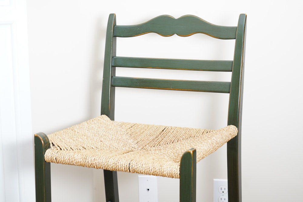 Pair Of Wooden Bar Stools With Rush Seats Ebth