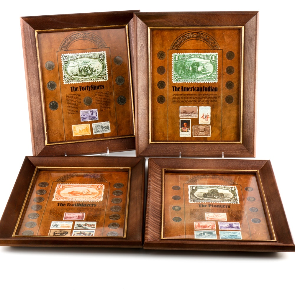 Four Framed Historic U.S. Coin Sets