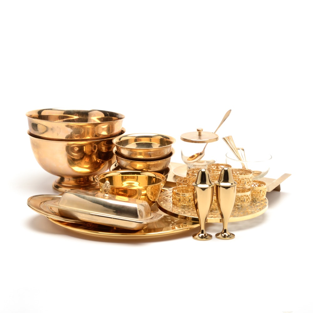 "Gold Tone Tableware Including Oneida ""Tudor"""