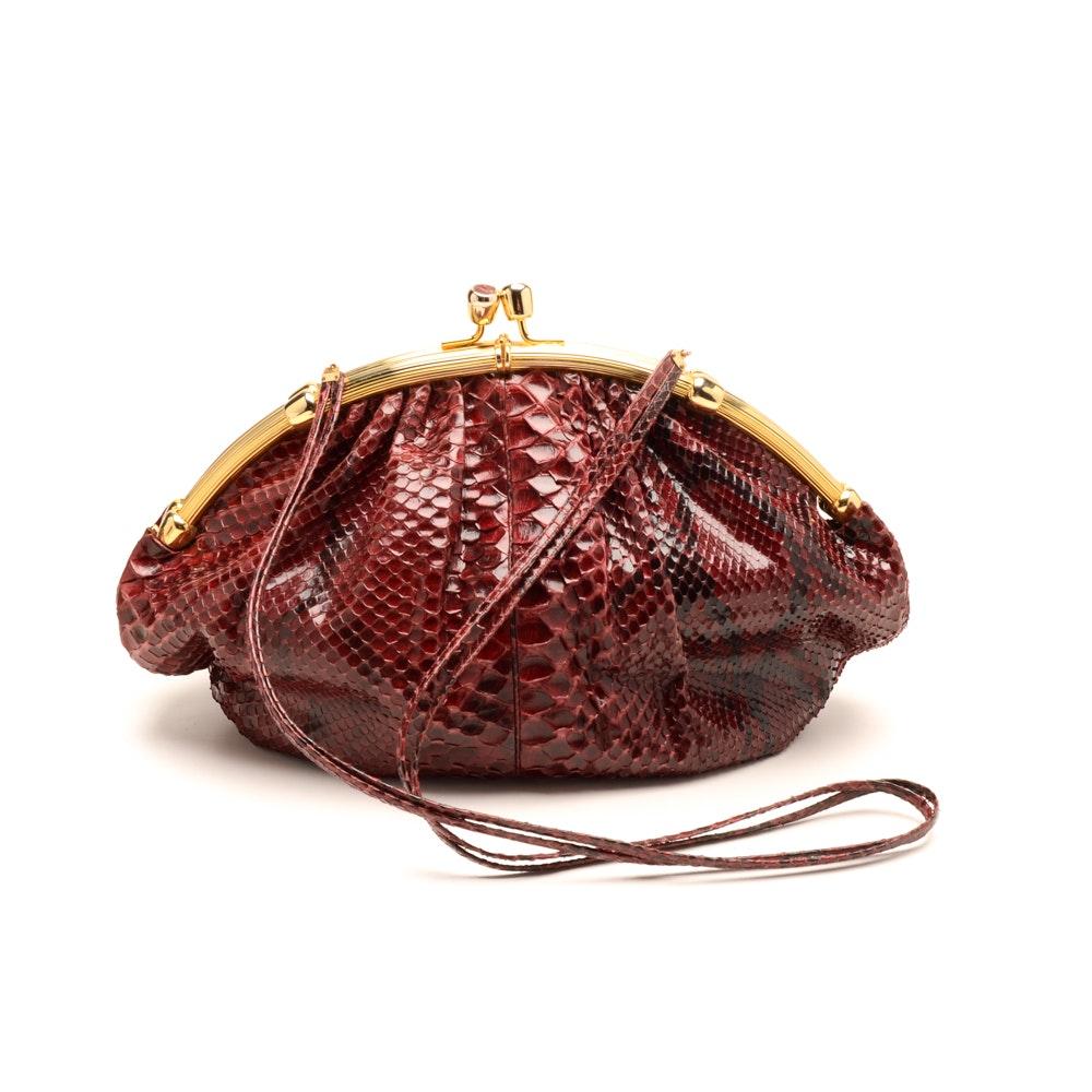 Judith Leiber Designer Snakeskin Handbag with Wallet
