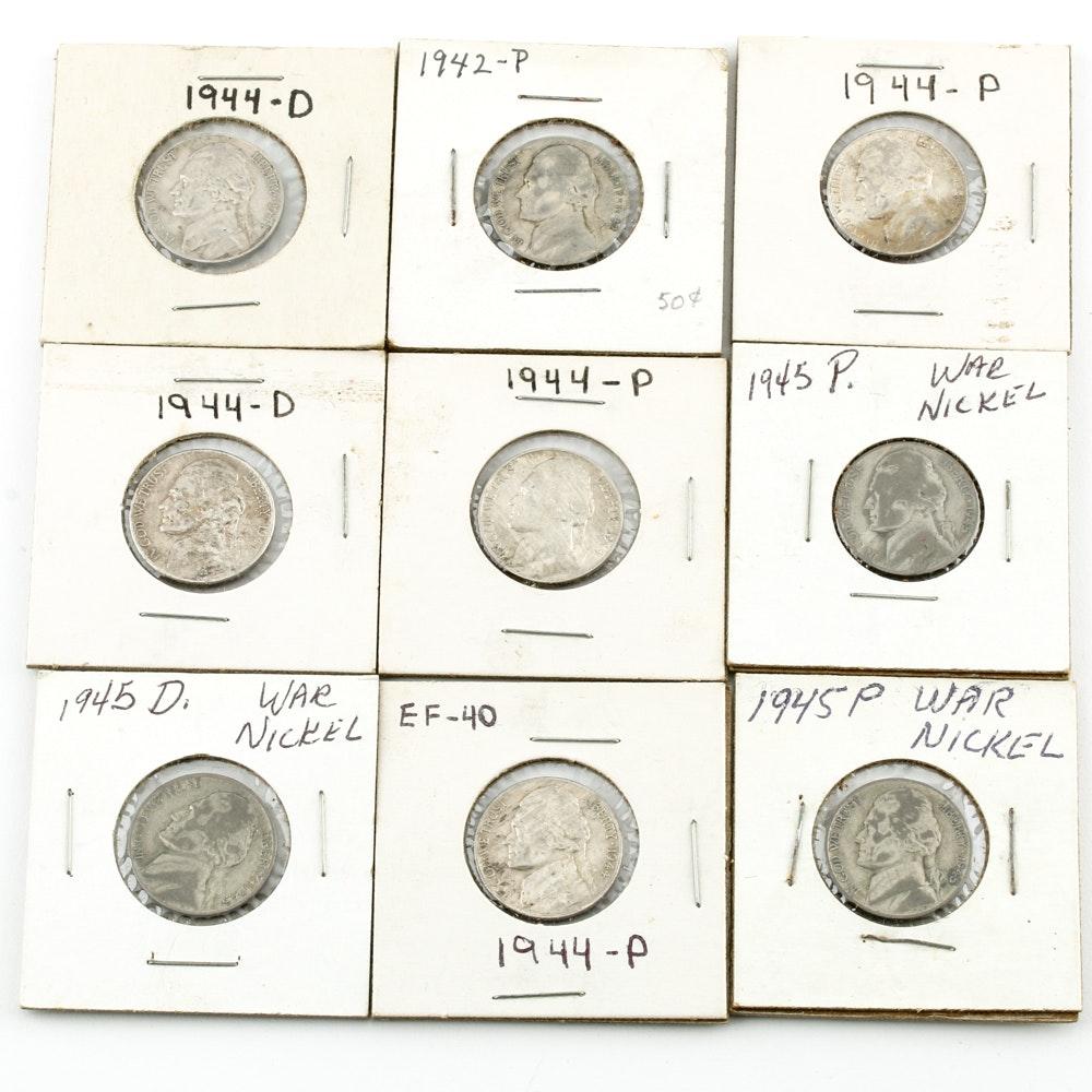 Nine Silver WWII Era Jefferson Nickels