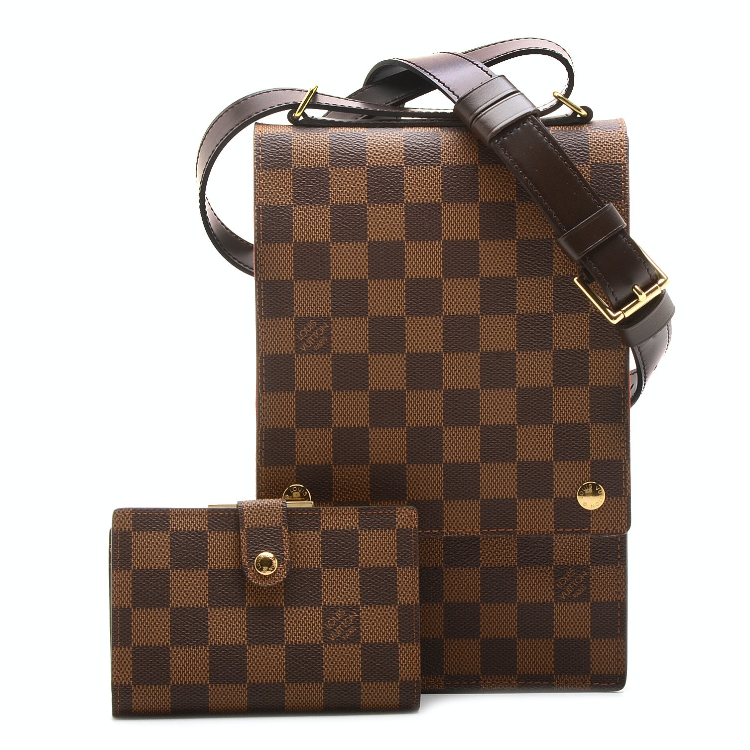 Louis Vuitton Damier Ebène Crossbody Bag and Wallet