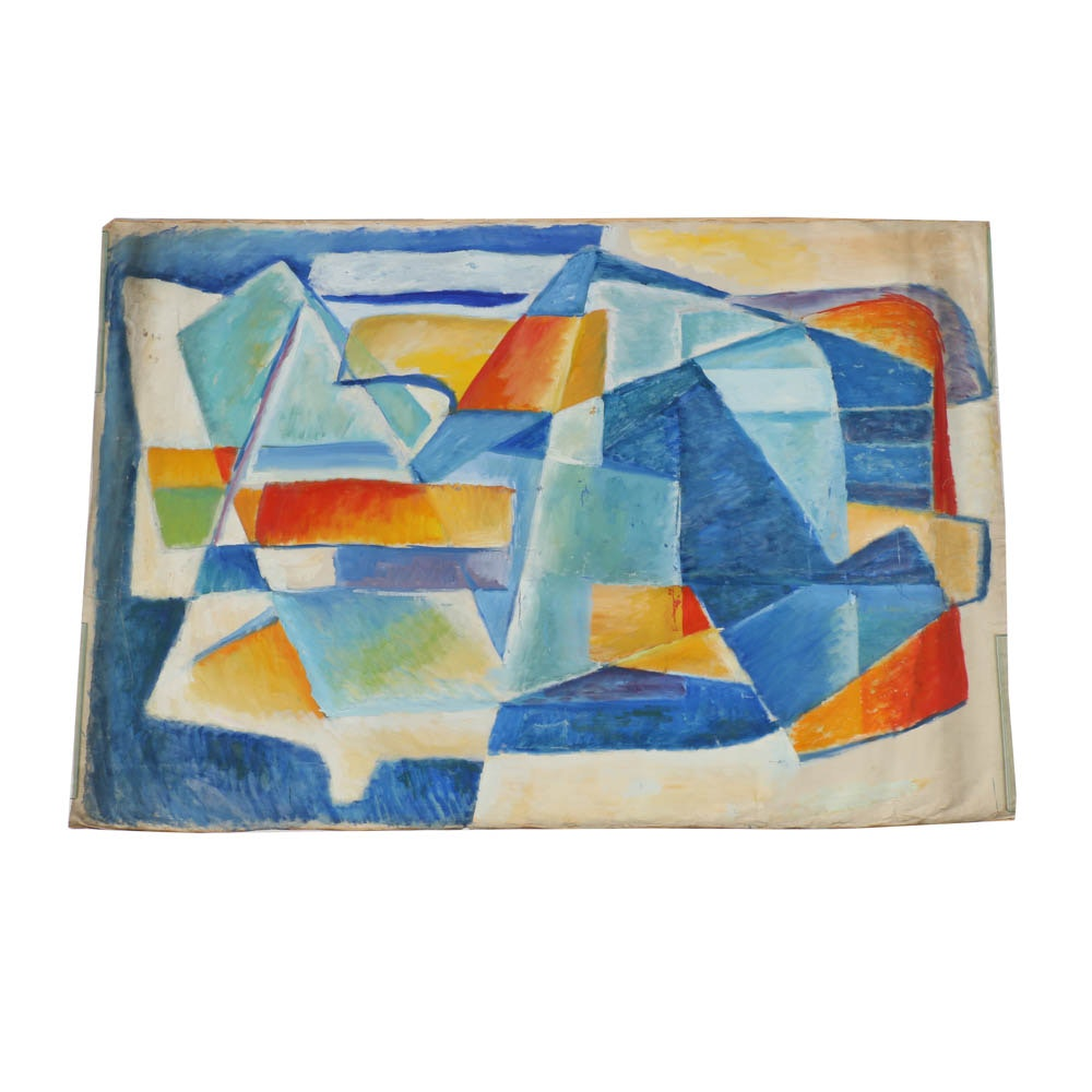 Abstract Geometric Oil Painting on Canvas from the Estate of Phillip Callahan