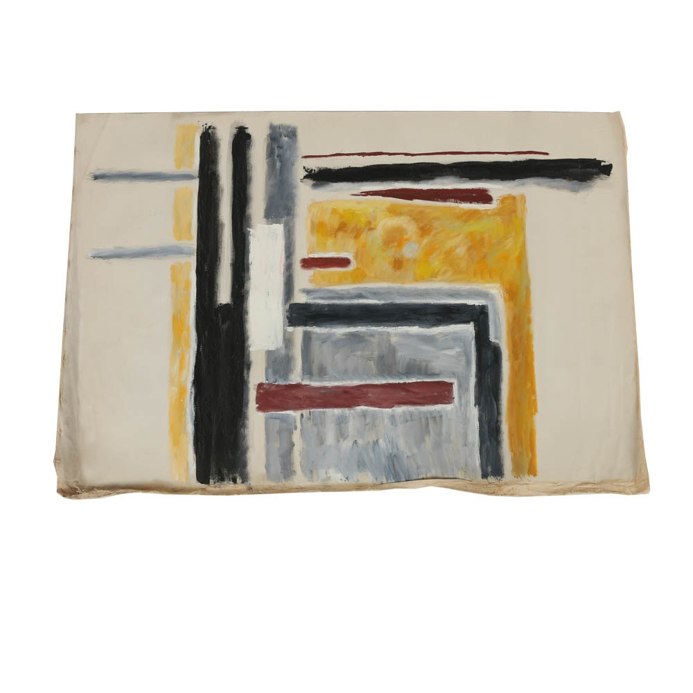 Abstract Oil Painting on Canvas from the Estate of Phillip Callahan