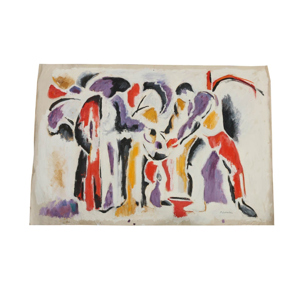Phillip Callahan Oil on Canvas of Three Figures