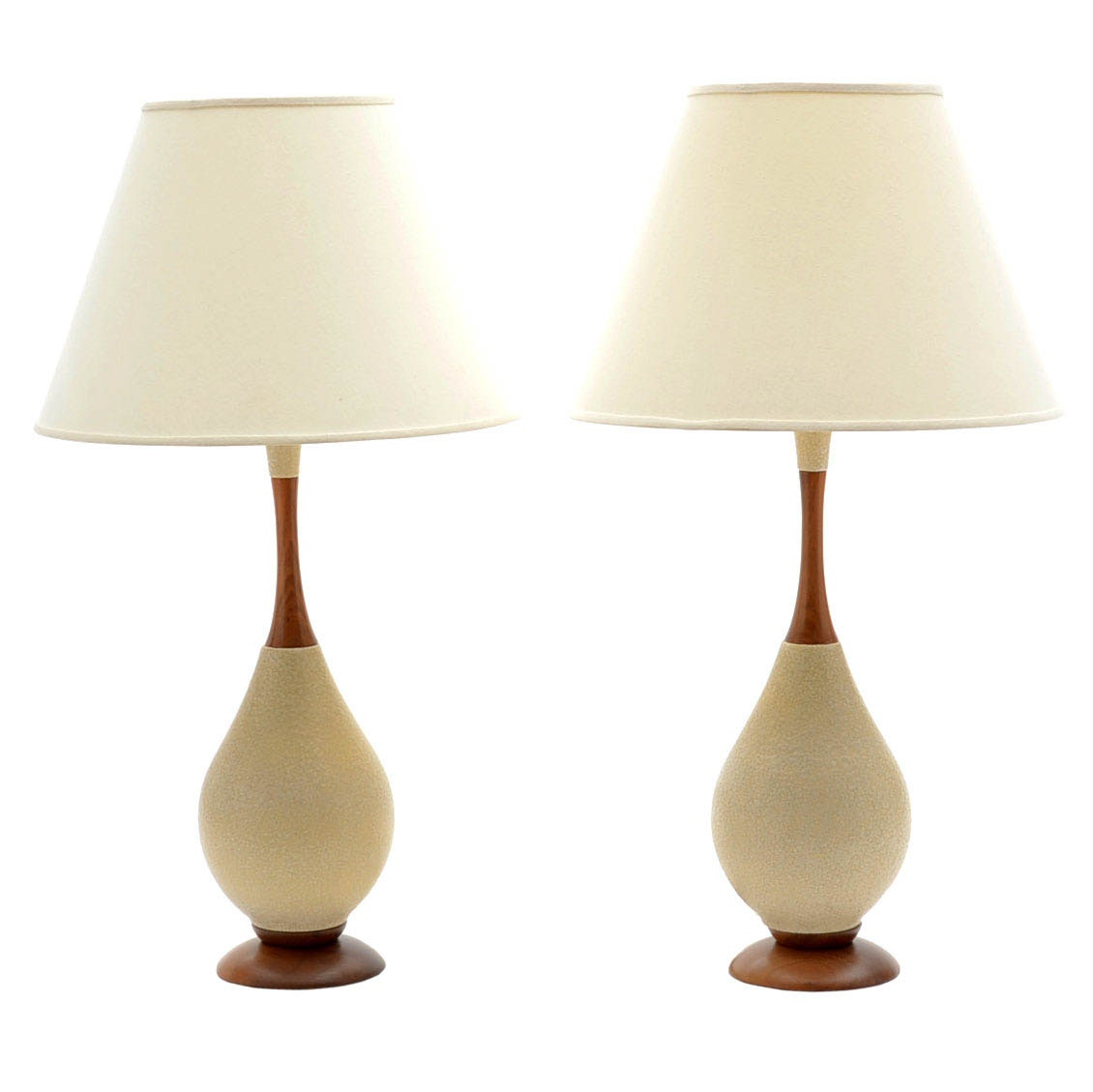 Pair of Mid Century Modern Ceramic and Wood Table Lamps