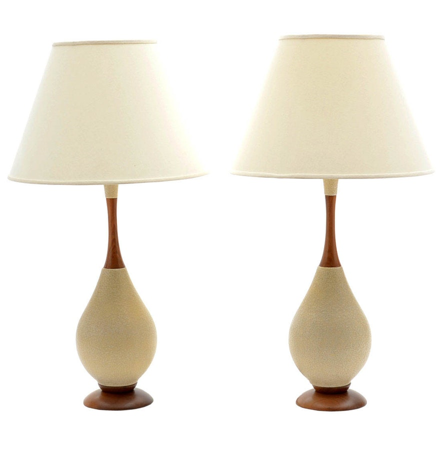 Pair of mid century modern ceramic and wood table lamps ebth pair of mid century modern ceramic and wood table lamps geotapseo Image collections