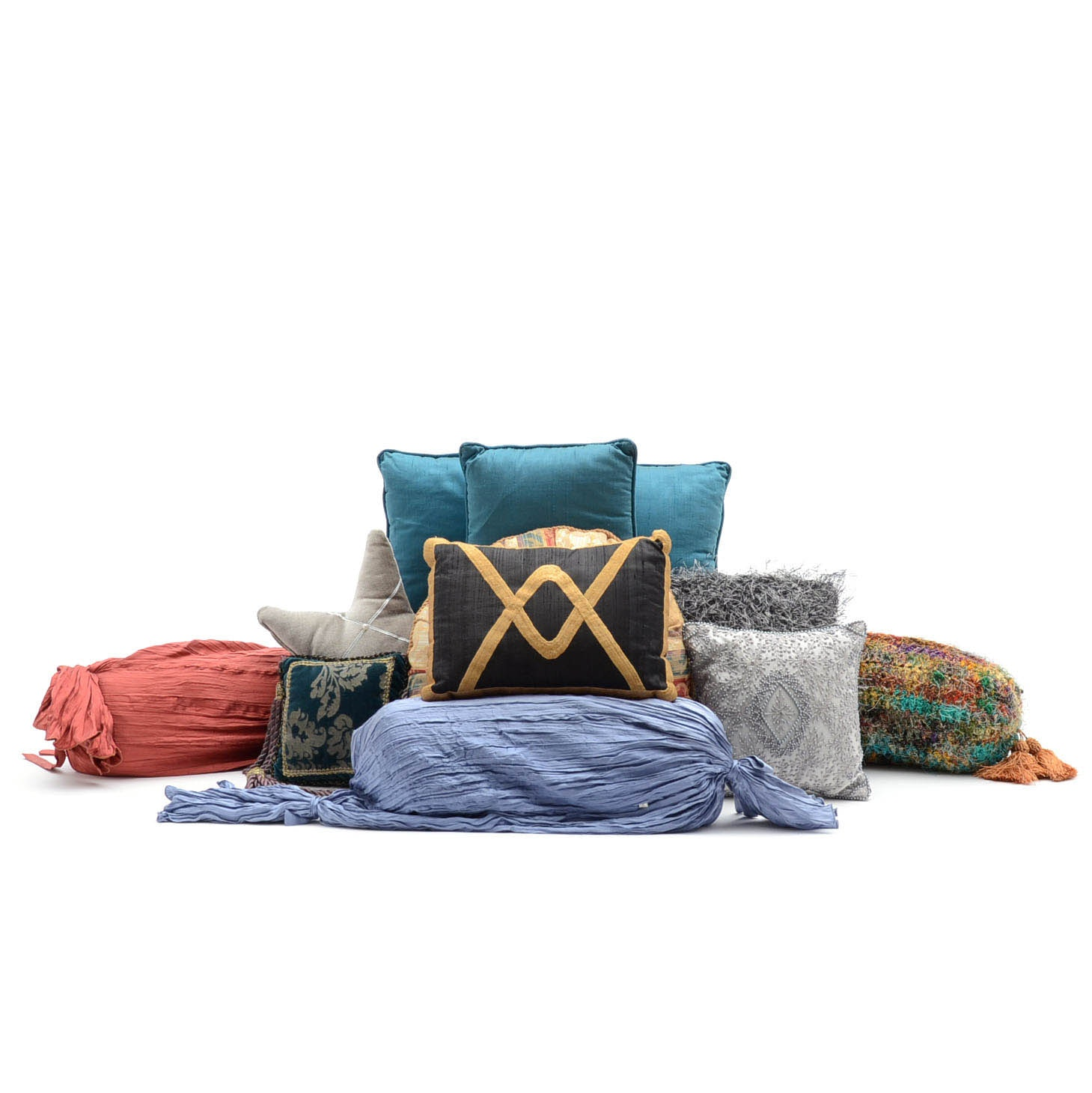 Assortment of Decorative Accent Pillows