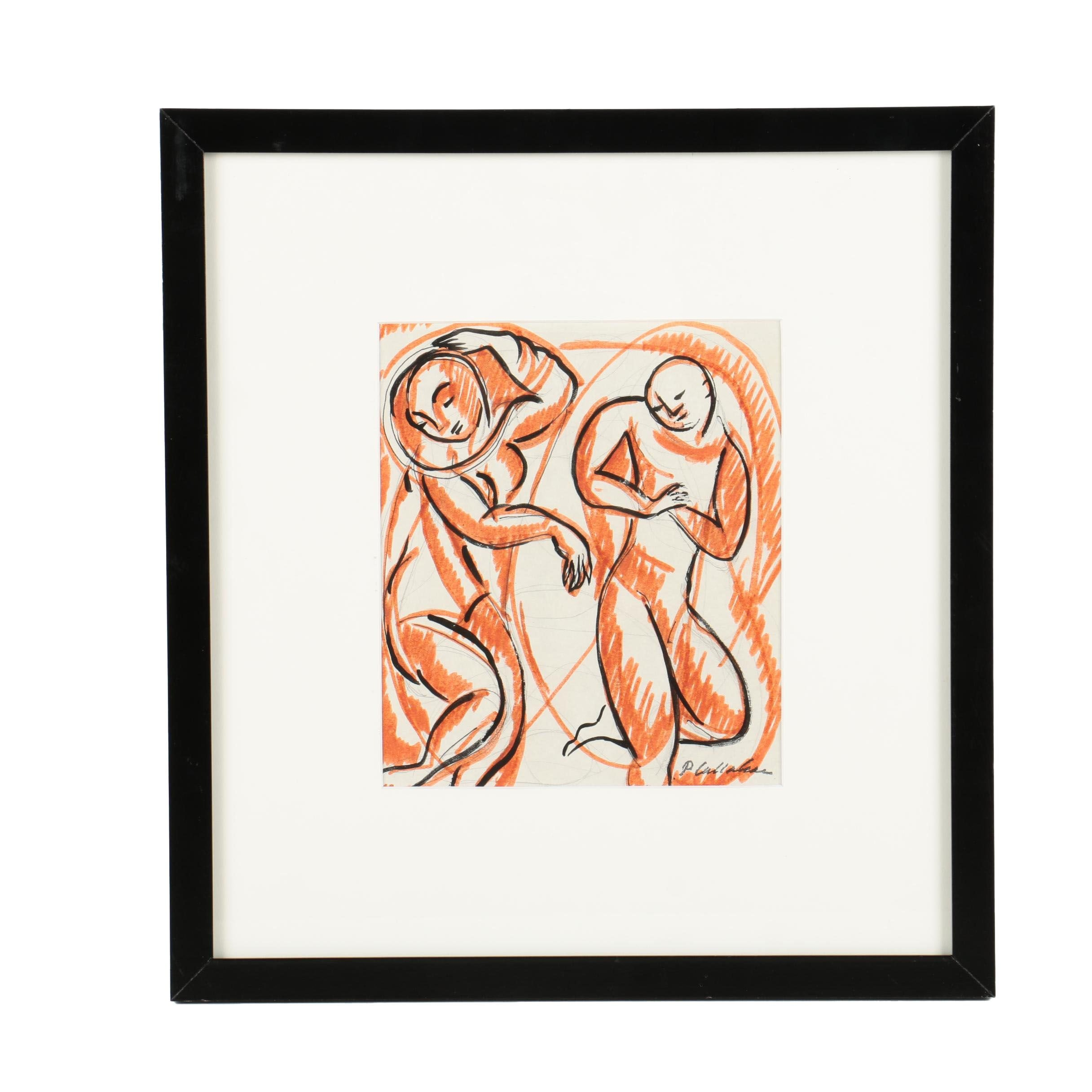 Phillip Callahan Graphite and Ink Drawing of Two Figures