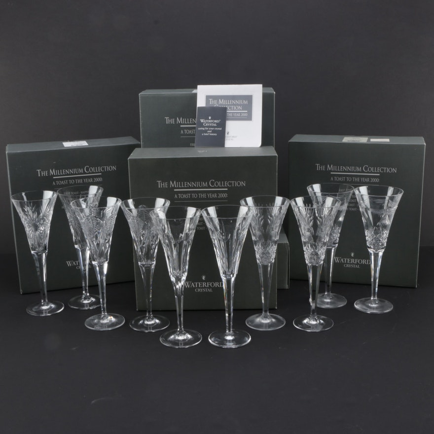 """Millenium Auto Sales >> Complete Set of Waterford Crystal """"Millennium Collection"""" Champagne Flutes : EBTH"""