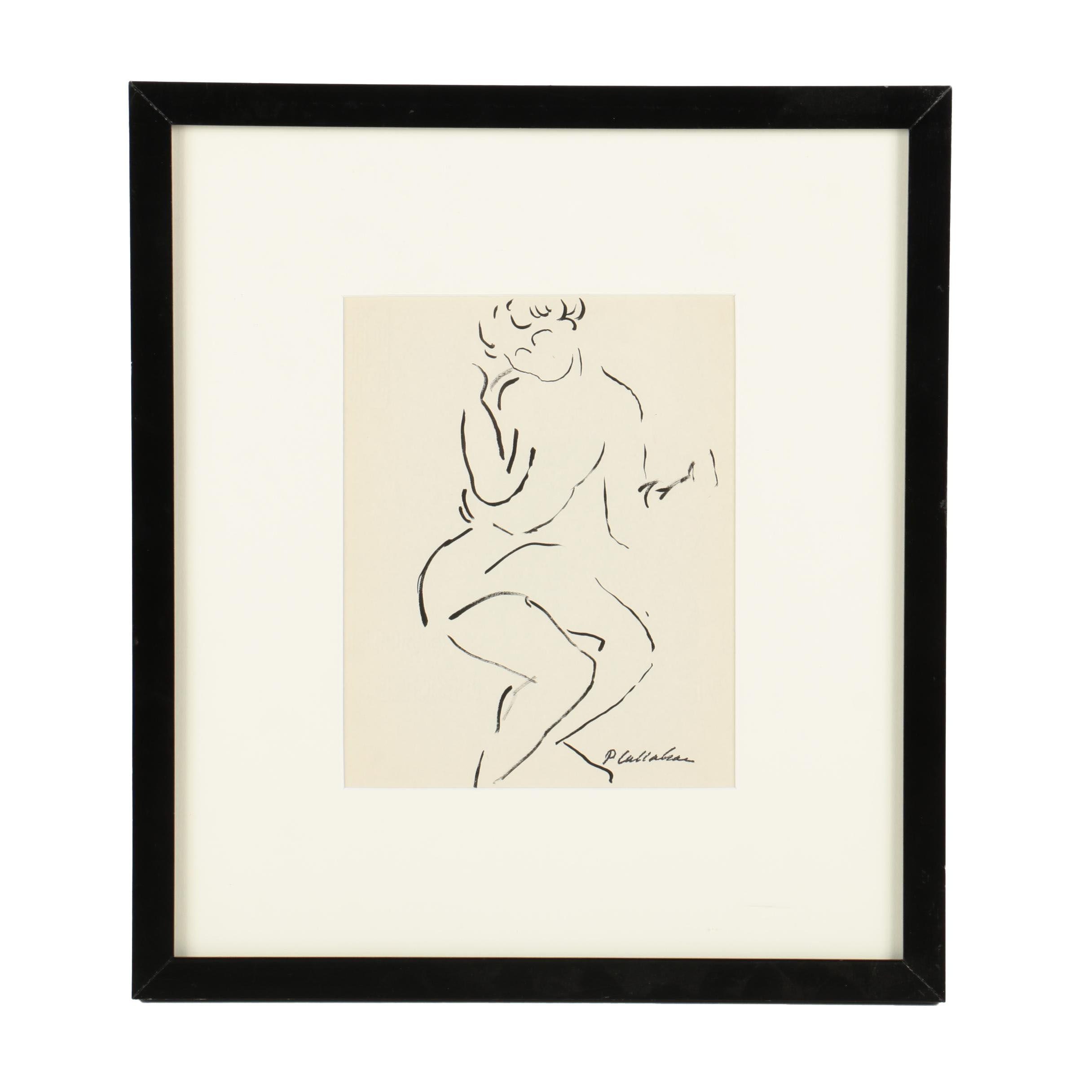 Phillip Callahan Ink Drawing on Paper of Abstract Female Figure