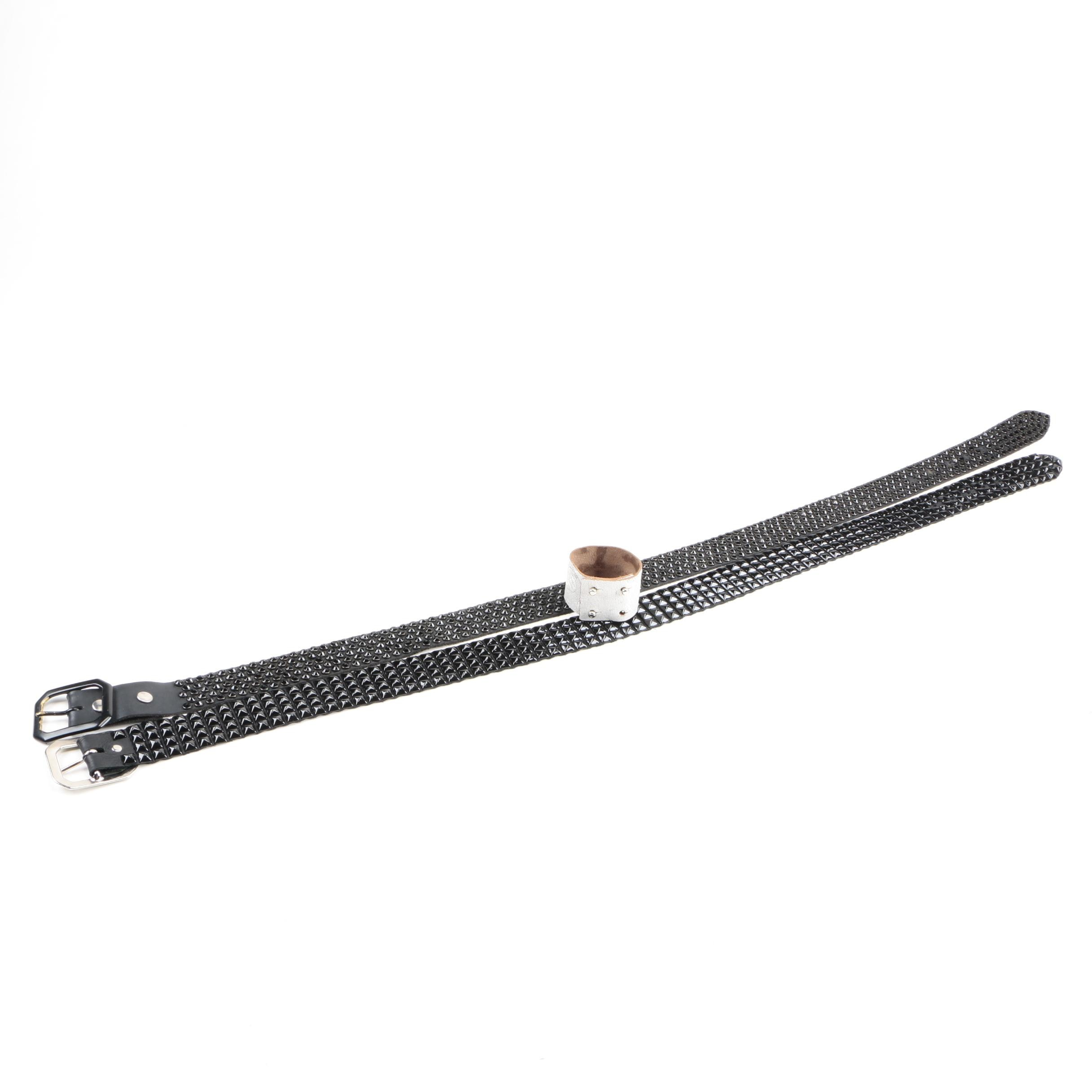 Leather Studded Belts and Embossed Wrist Cuff