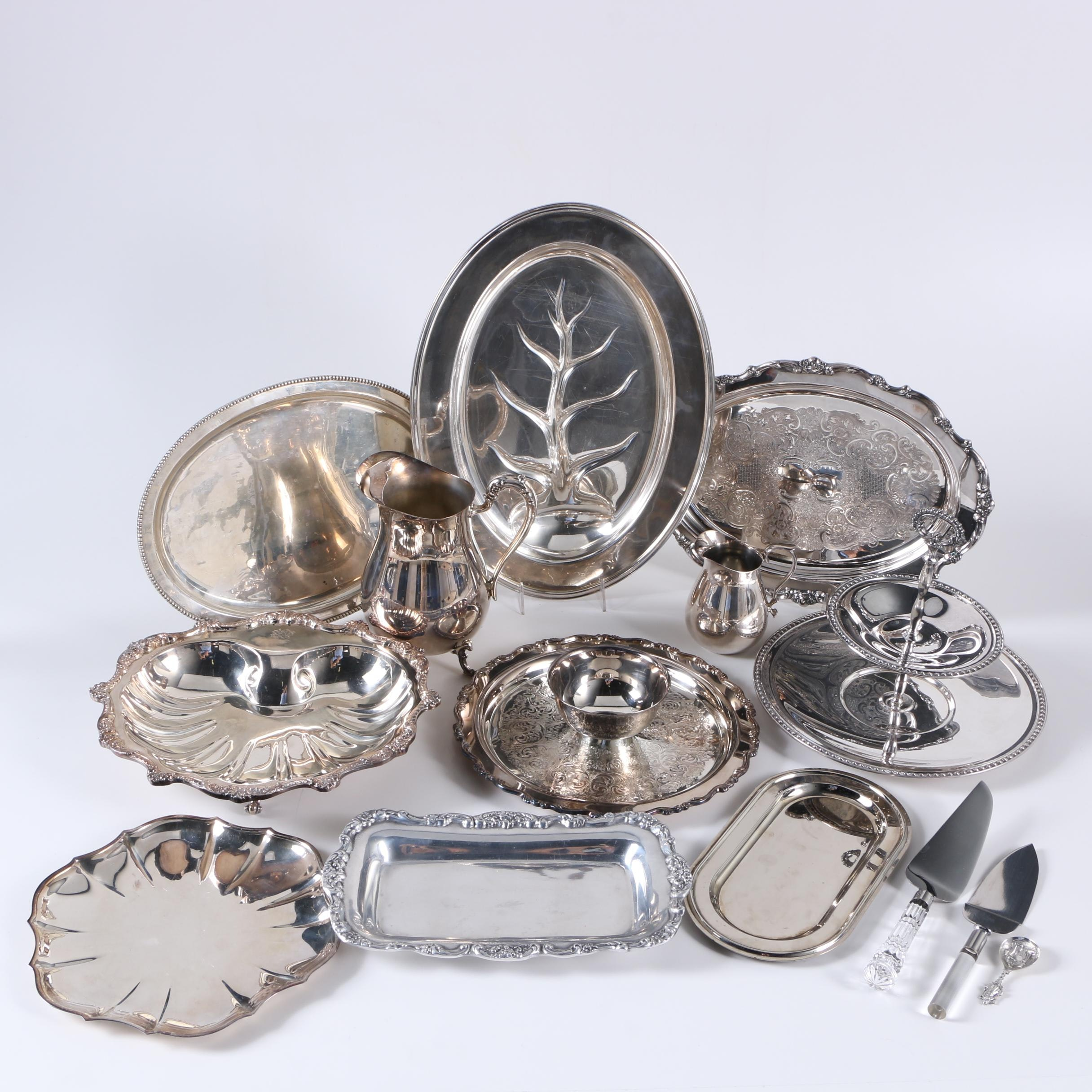 1929 Reed & Barton Silver Plate Meat Serving Tray and Assorted Silver Plate Servingware