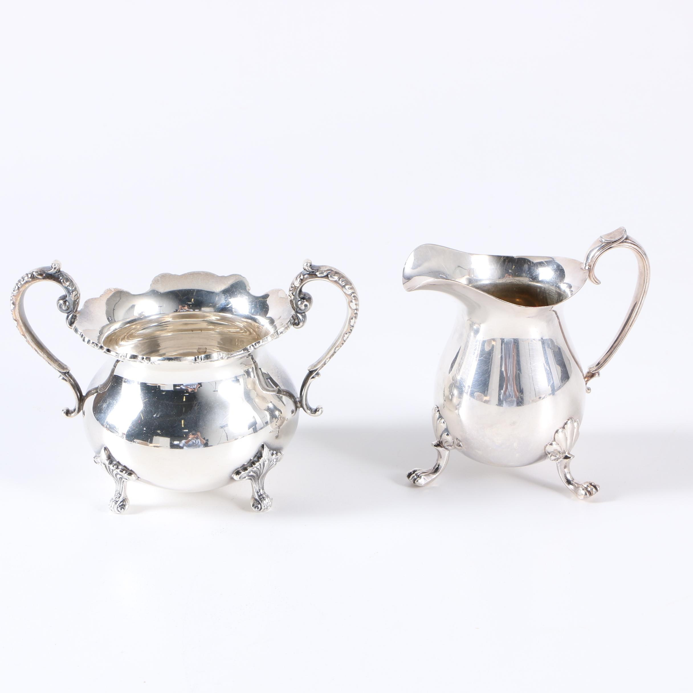 Stieff Sterling Silver Sugar Bowl With Crescent Silver Plate Creamer
