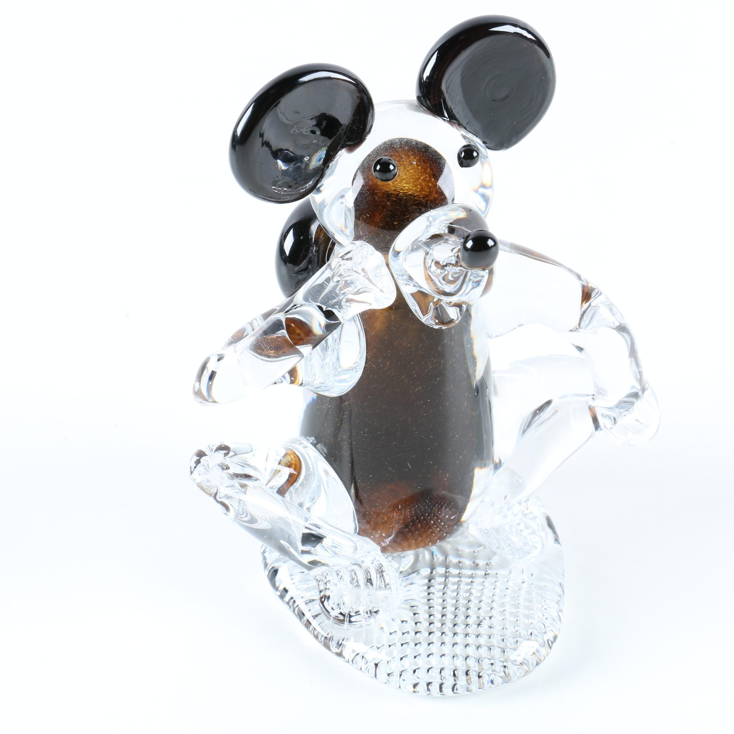 Hand Blown Glass Mouse Figurine