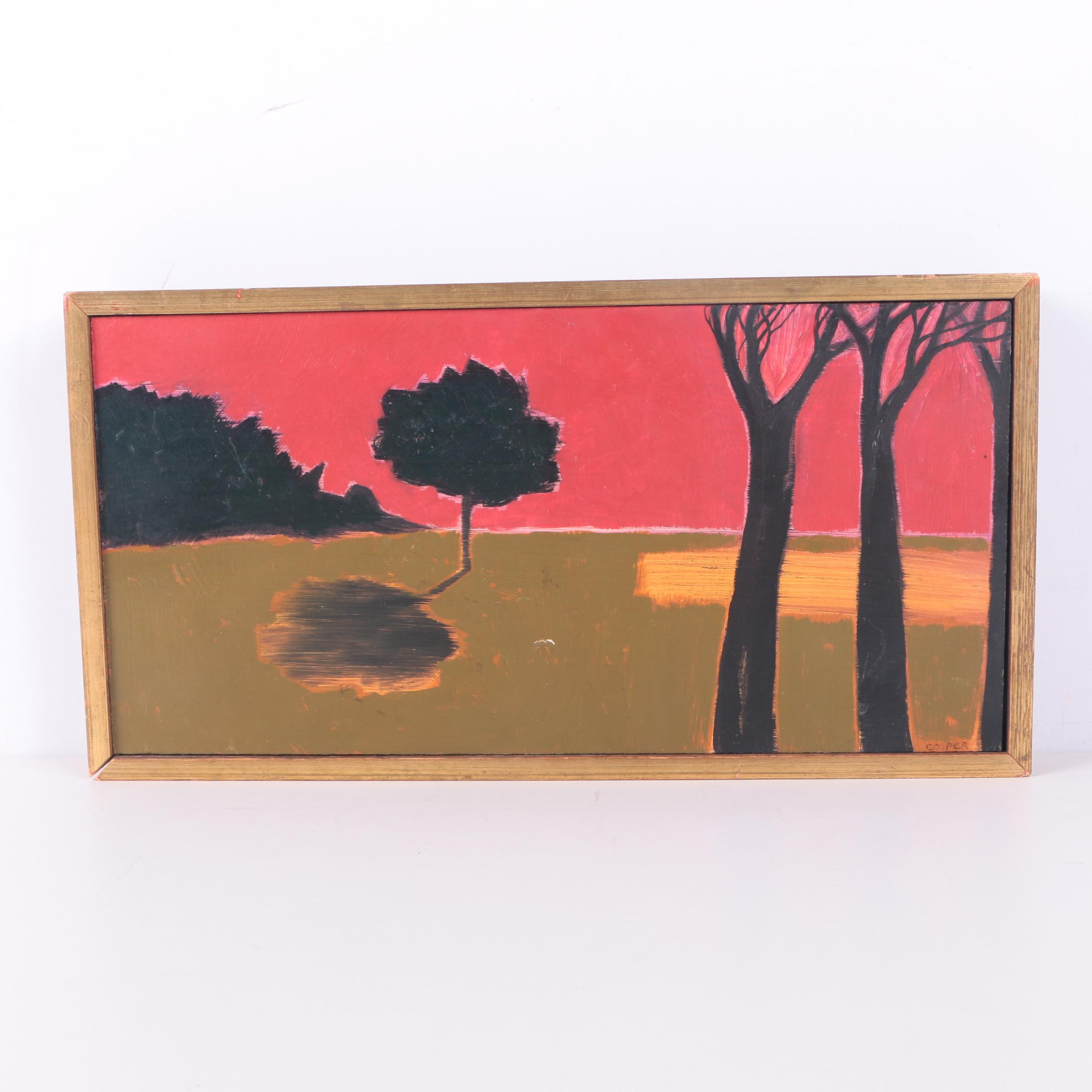 Oil Painting on Wood Panel of a Minimalistic Landscape