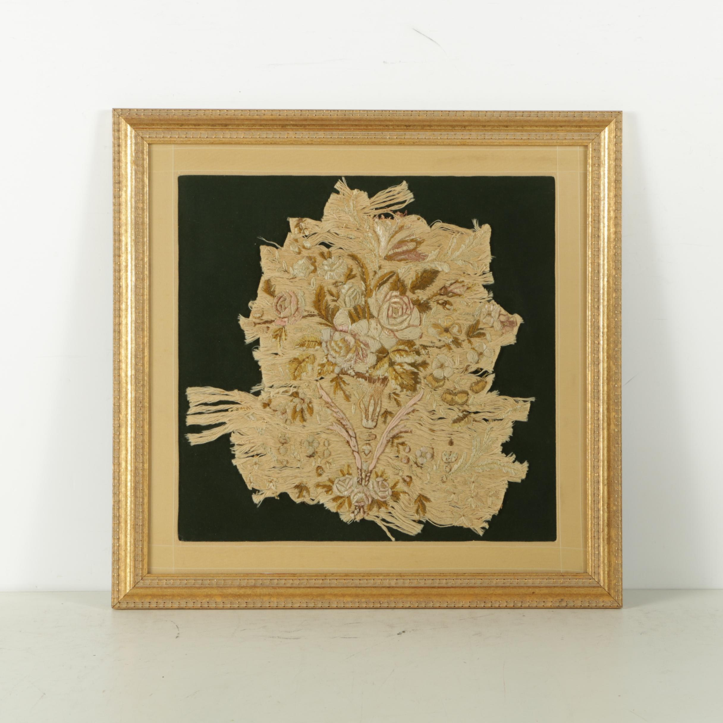 Embroidered Textile with Floral Imagery