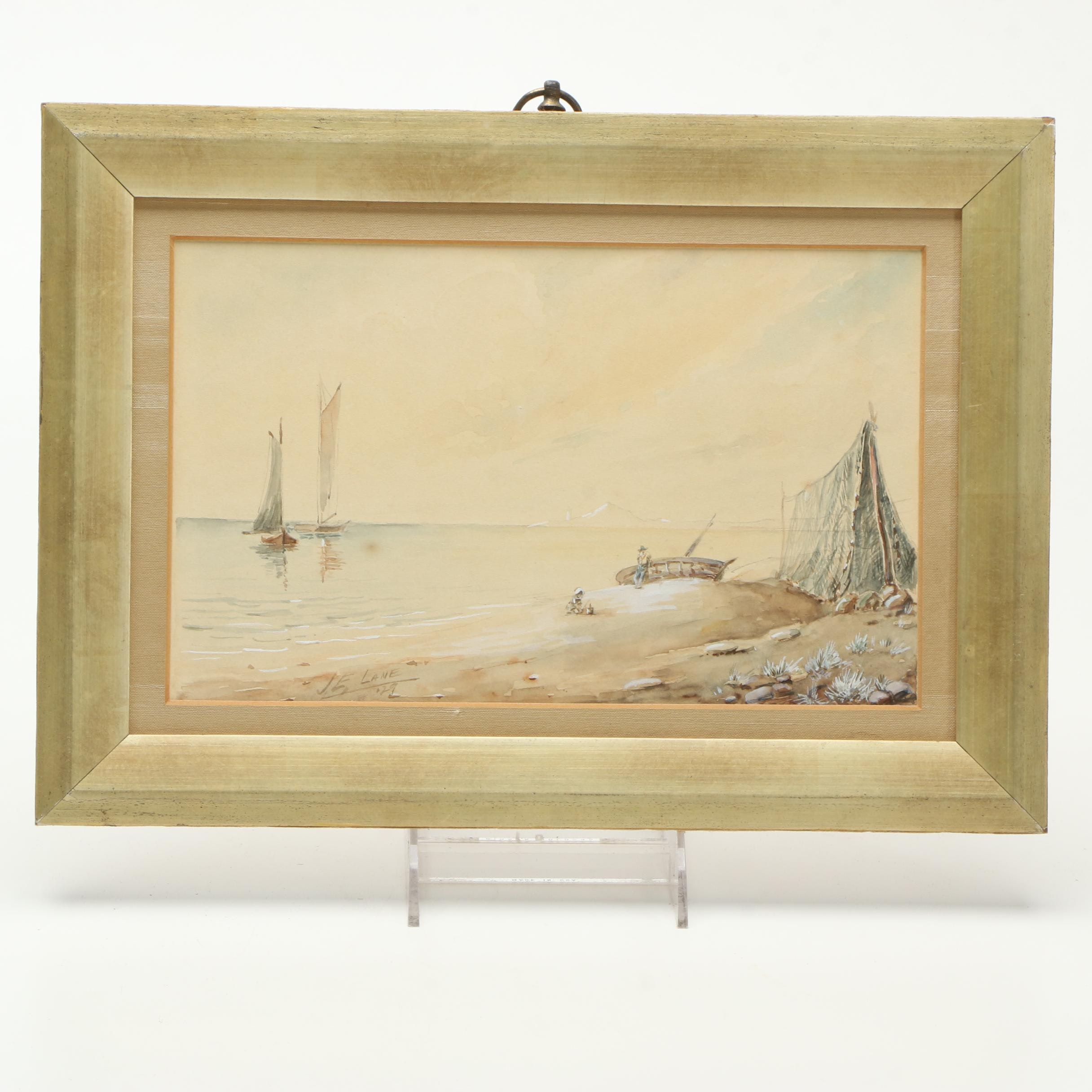J. E. Lane 1929 Watercolor Painting on Paper of Maritime Landscape