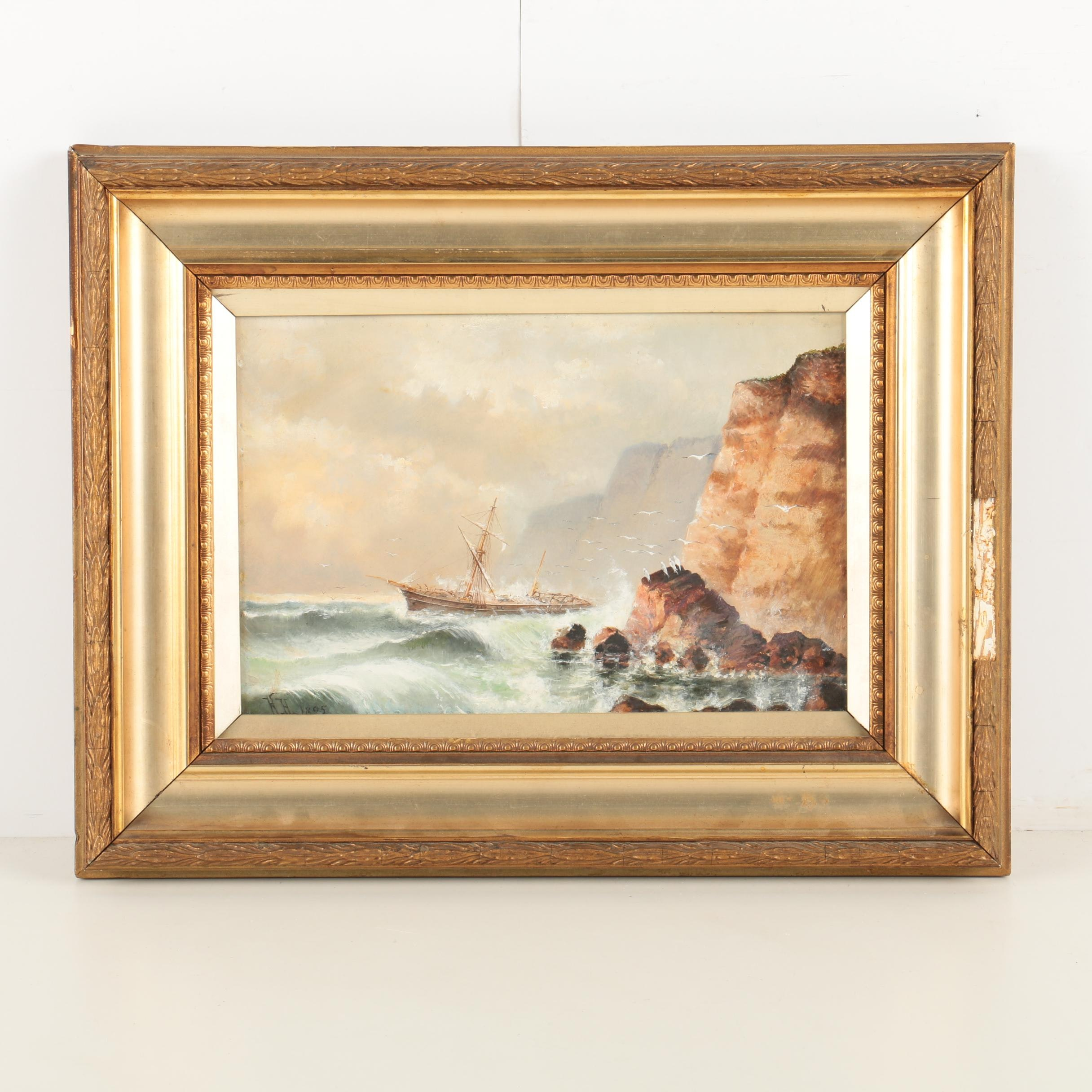 19th Century Oil Painting on Academy Board of a Maritime Scene