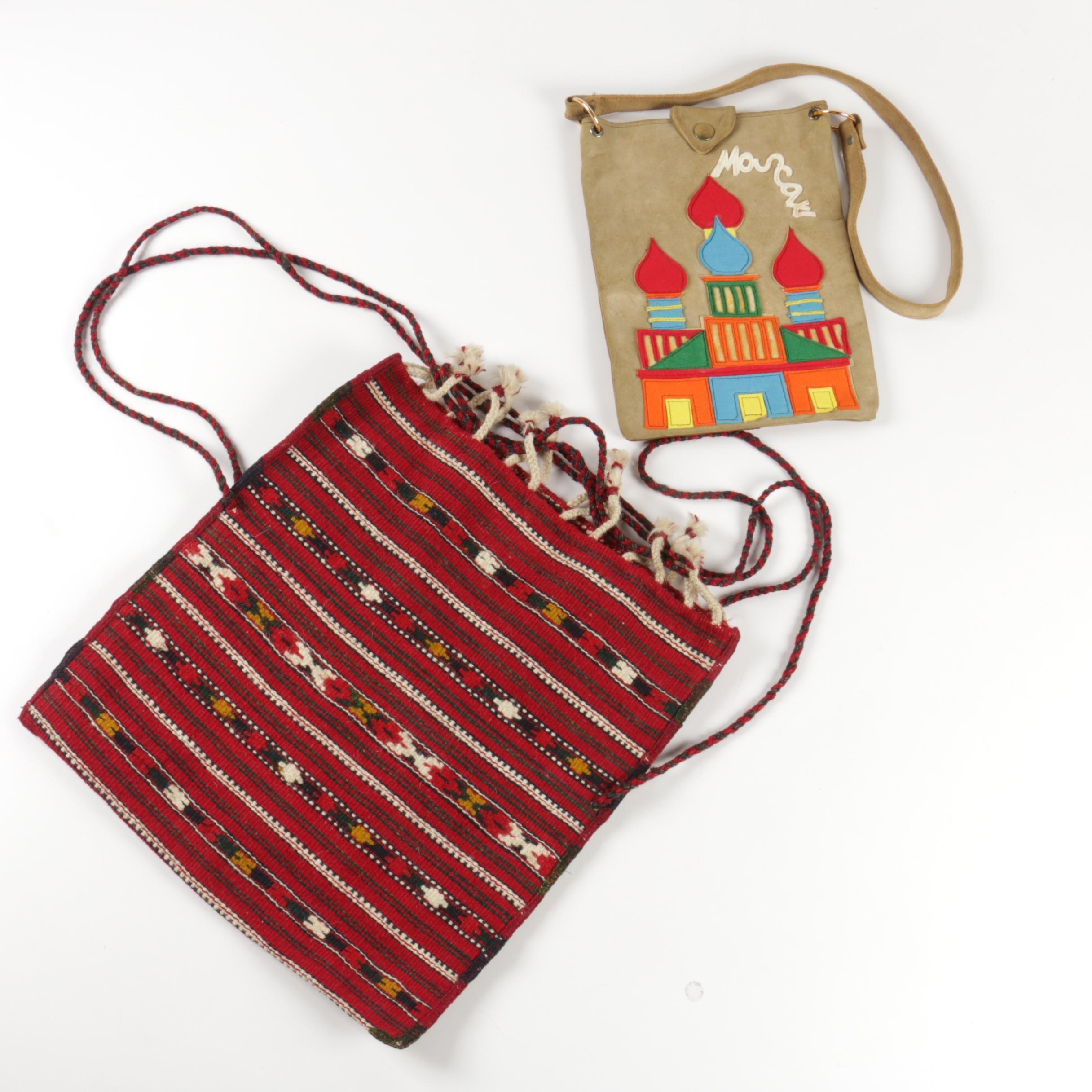 Vintage Handbag and Woven Knapsack