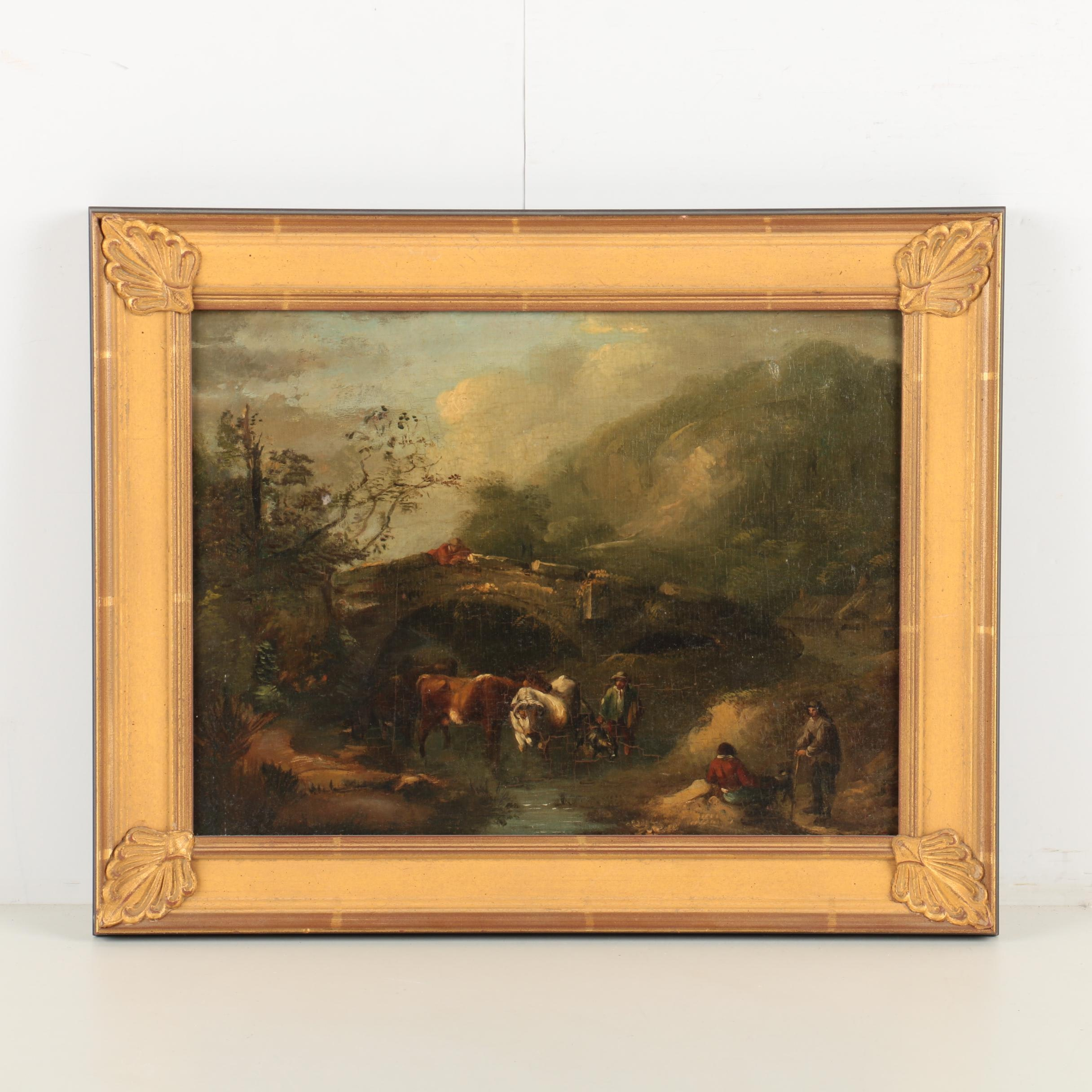 19th-Century Romantic Pastoral Landscape Oil on Canvas Mounted to Board