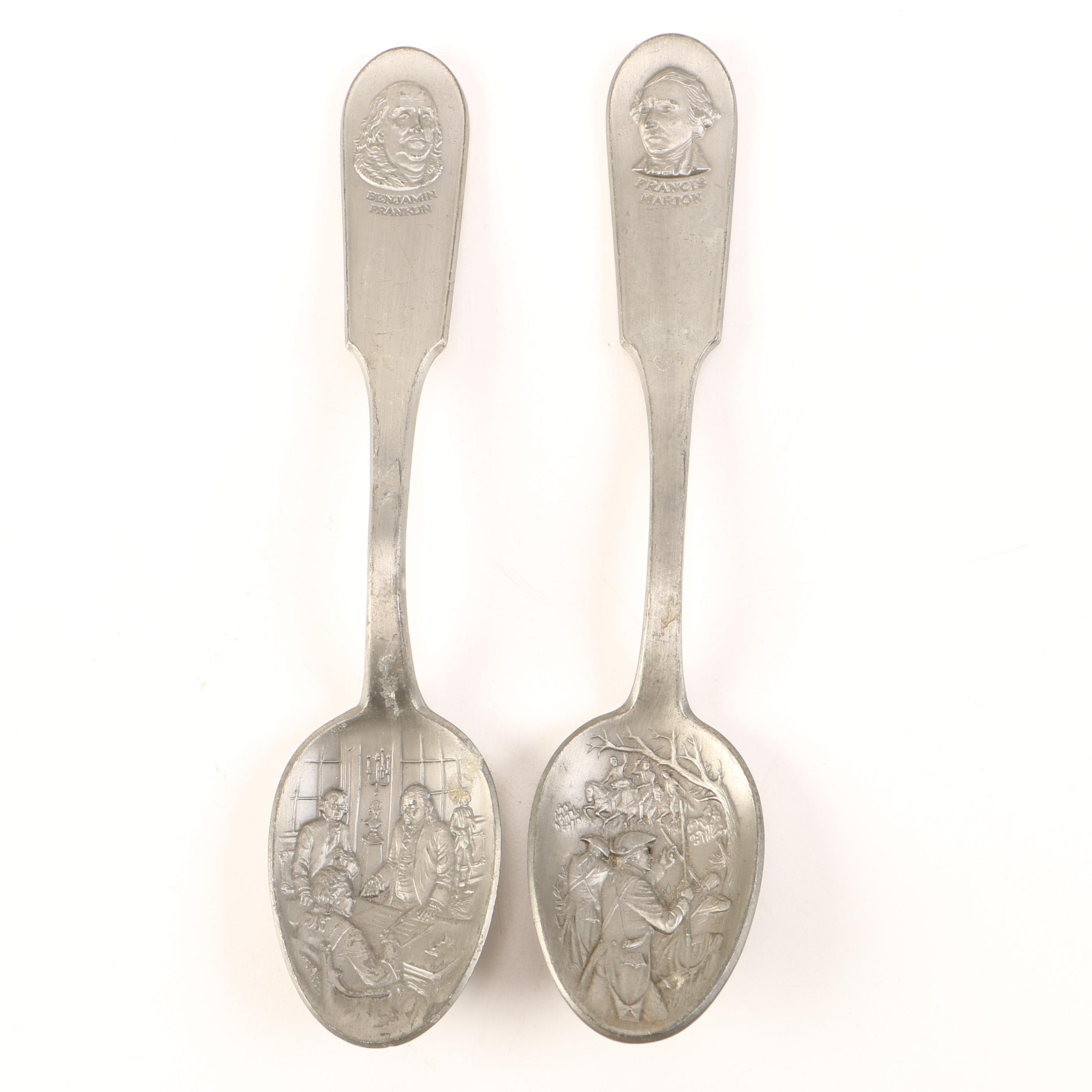 "Pair of Franklin Mint ""Found Fathers"" Pewter Spoons"