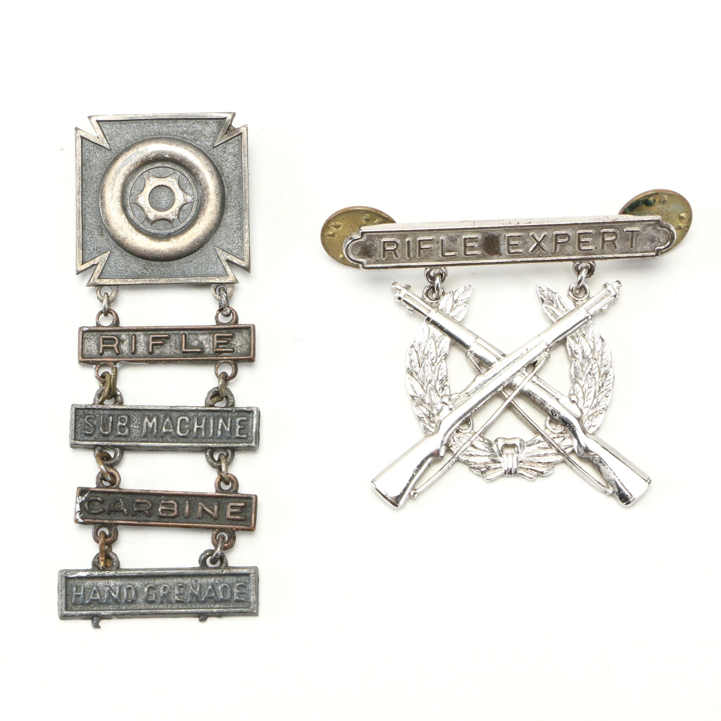 Pair of Sterling Marksmanship Pins