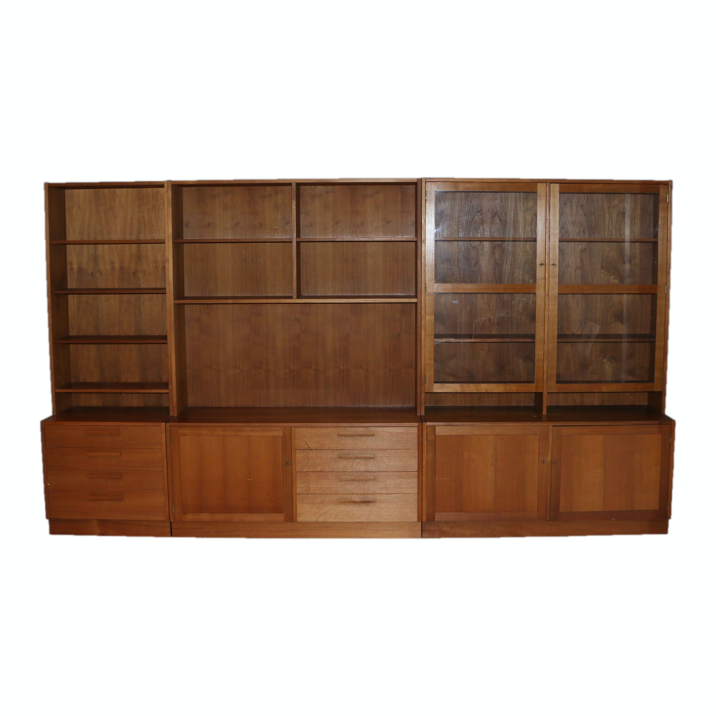 Swedish Modern Six Piece Shelving Cabinet and Curio Unit by Troeds