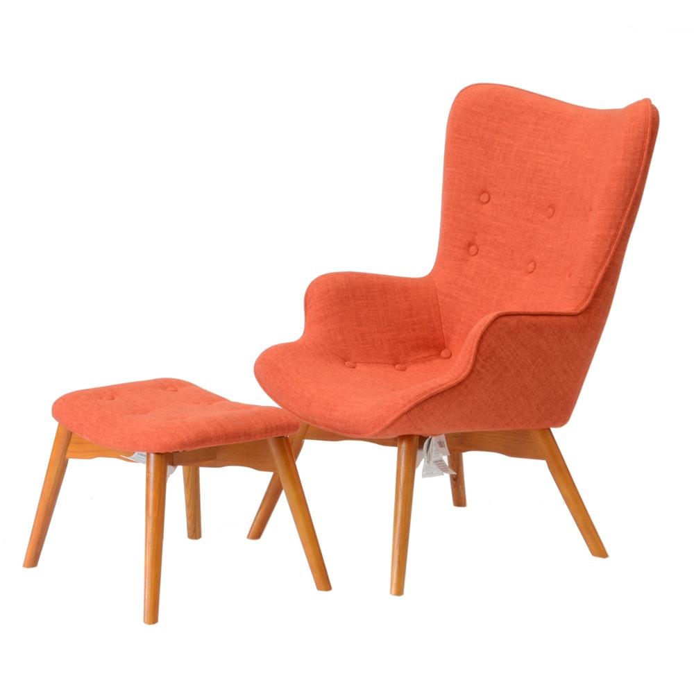 """Canyon Vista"" Modernist Armchair with Ottoman"