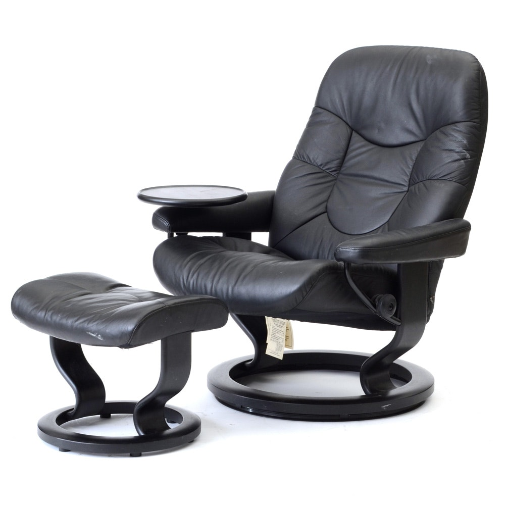 "Black Leather ""Stressless"" Adjustable Chair and Ottoman by Ekornes / Norway"
