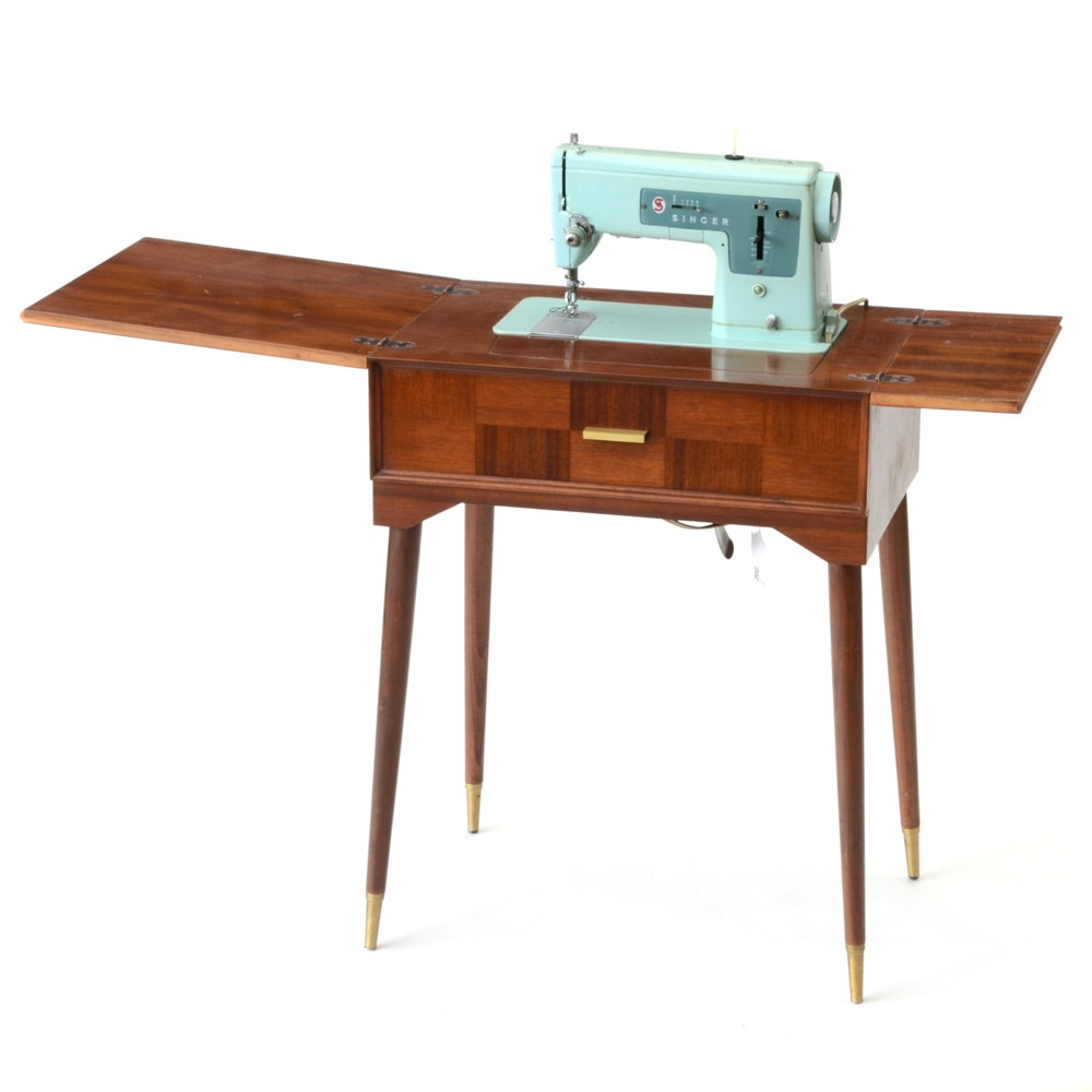 Mid Century Vintage Singer Sewing Machine with Table