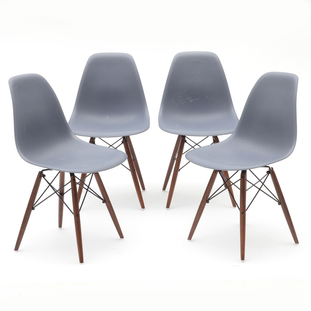 Set of Blue-Gray Shell Chairs