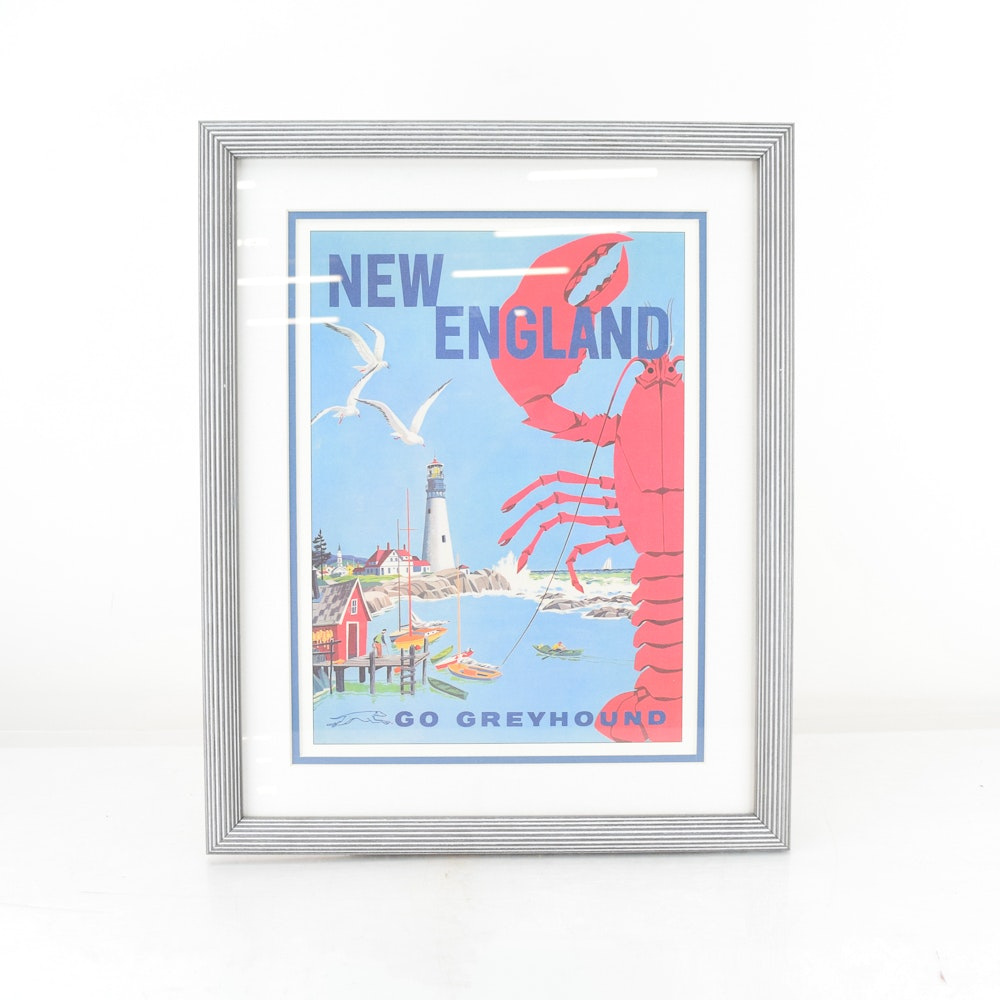 "Vintage Greyhound Bus Line Travel Advertisement for ""New England"""