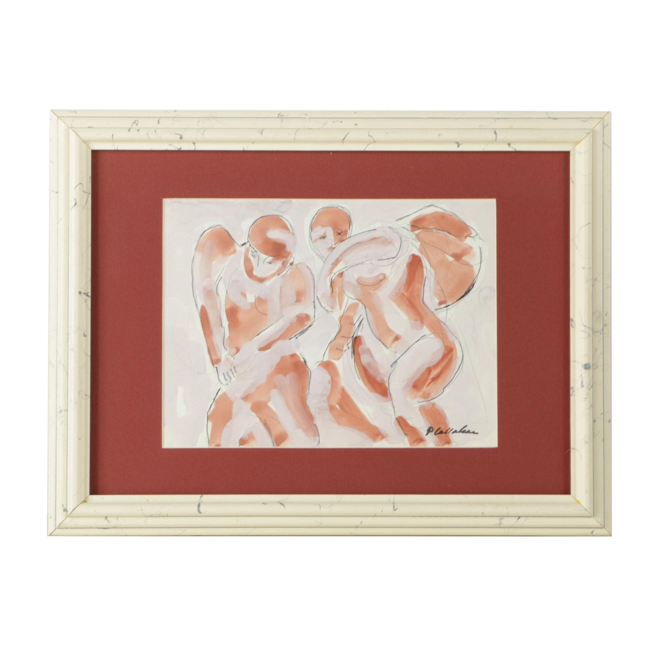 Phillip Callahan Mixed Media Painting of Figures