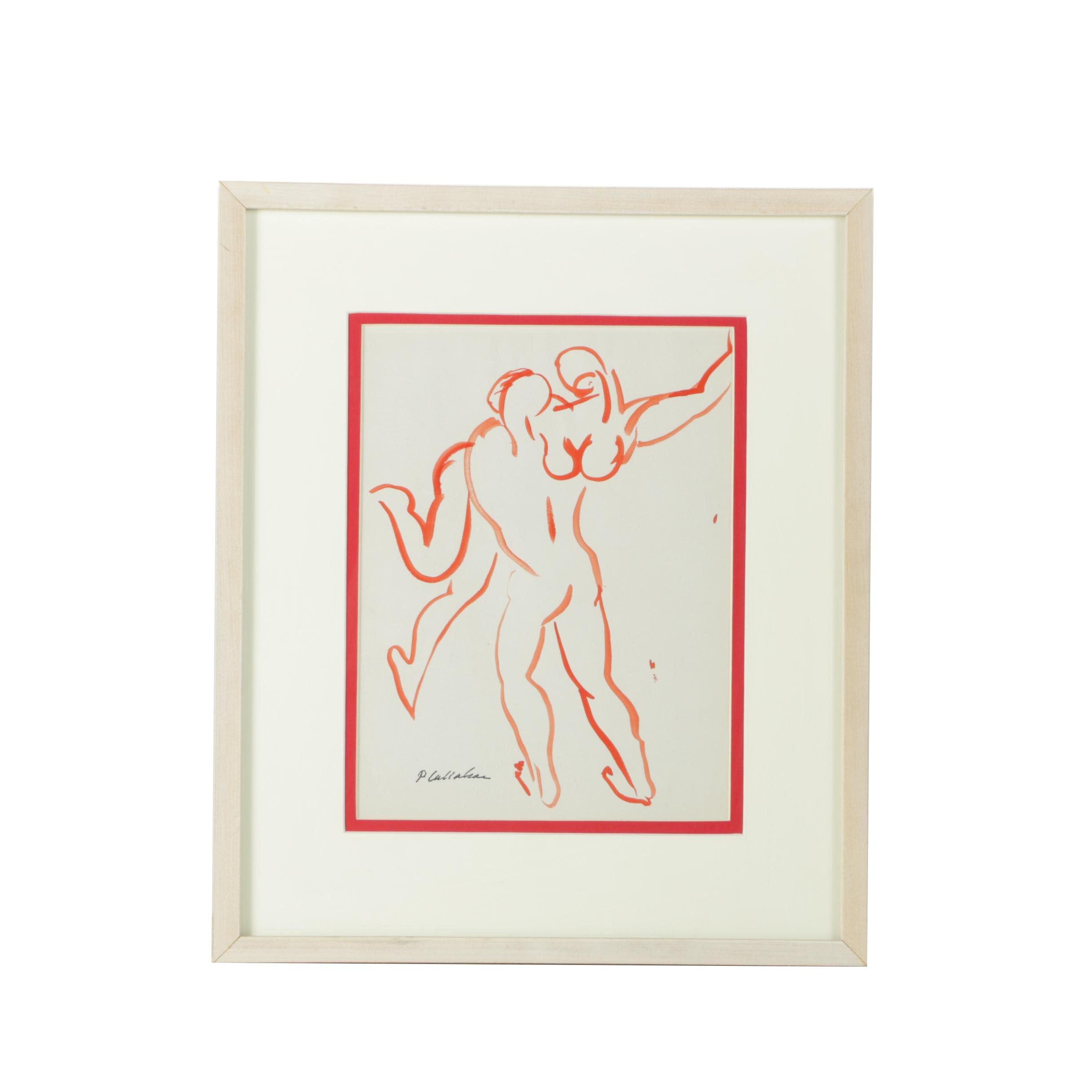 Phillip Callahan Watercolor of Man and Woman