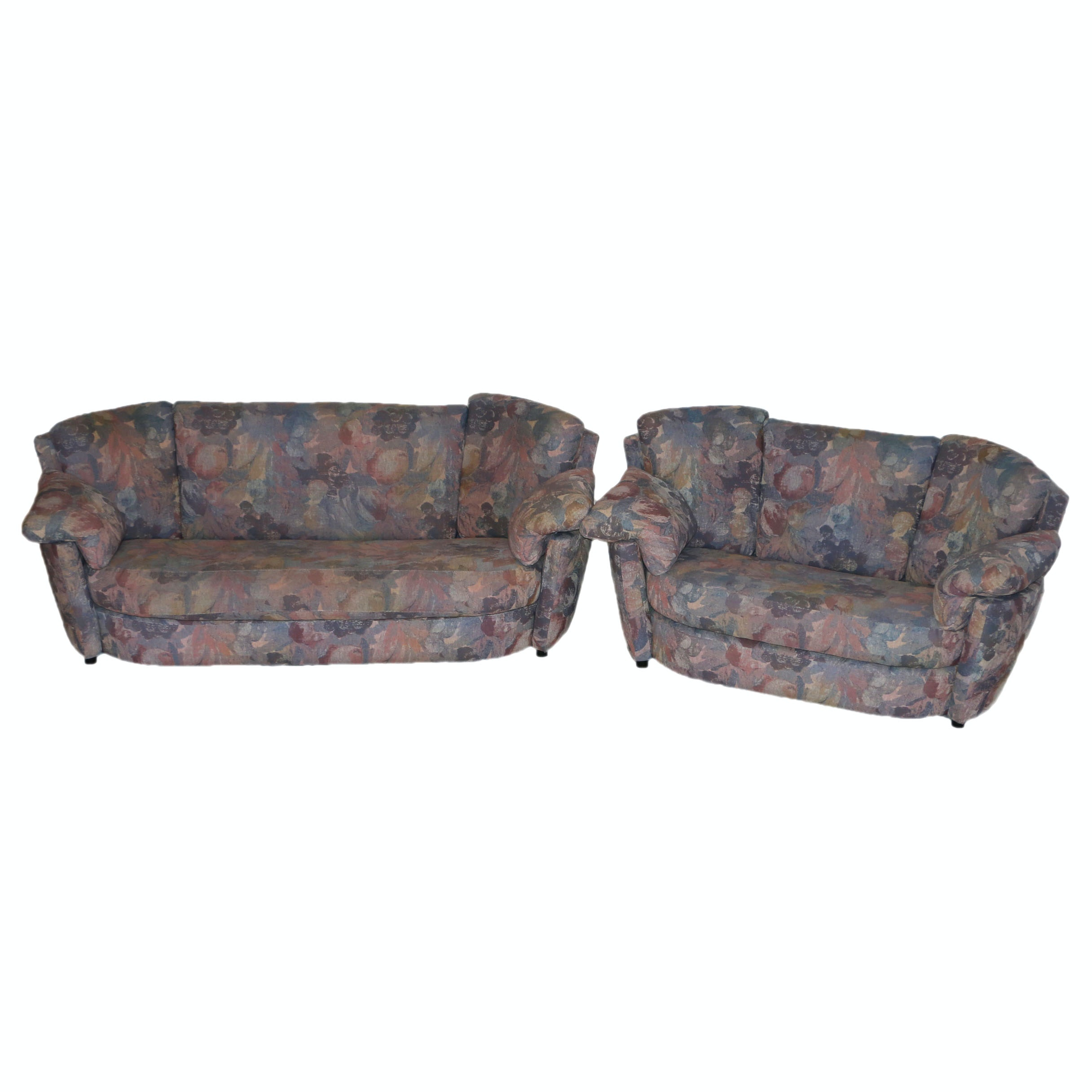 1980s Modern Floral Patterned Sofa and Loveseat by Josef Otmar