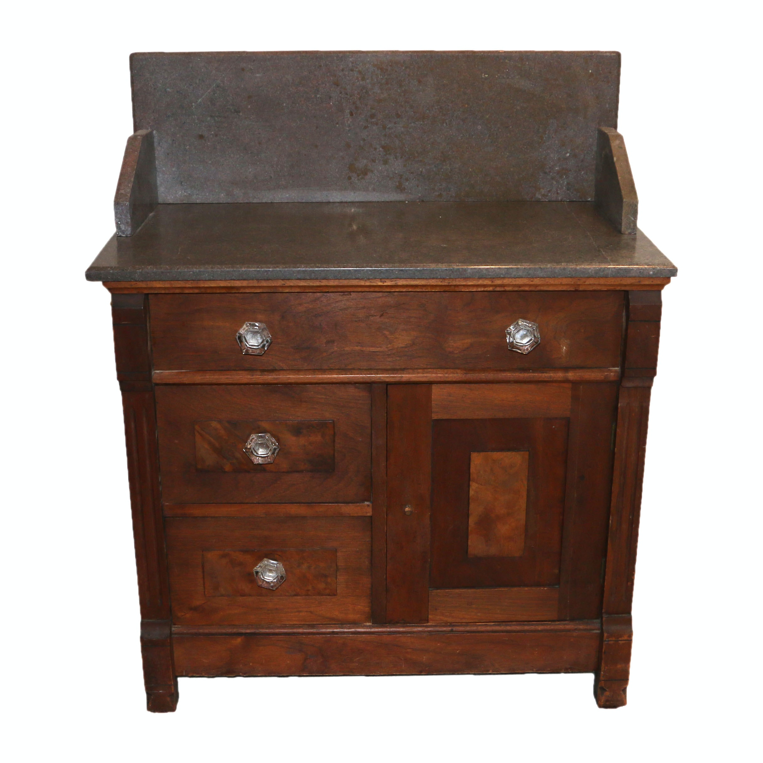 Antique Eastlake Style Walnut Wash Stand with Stone Top
