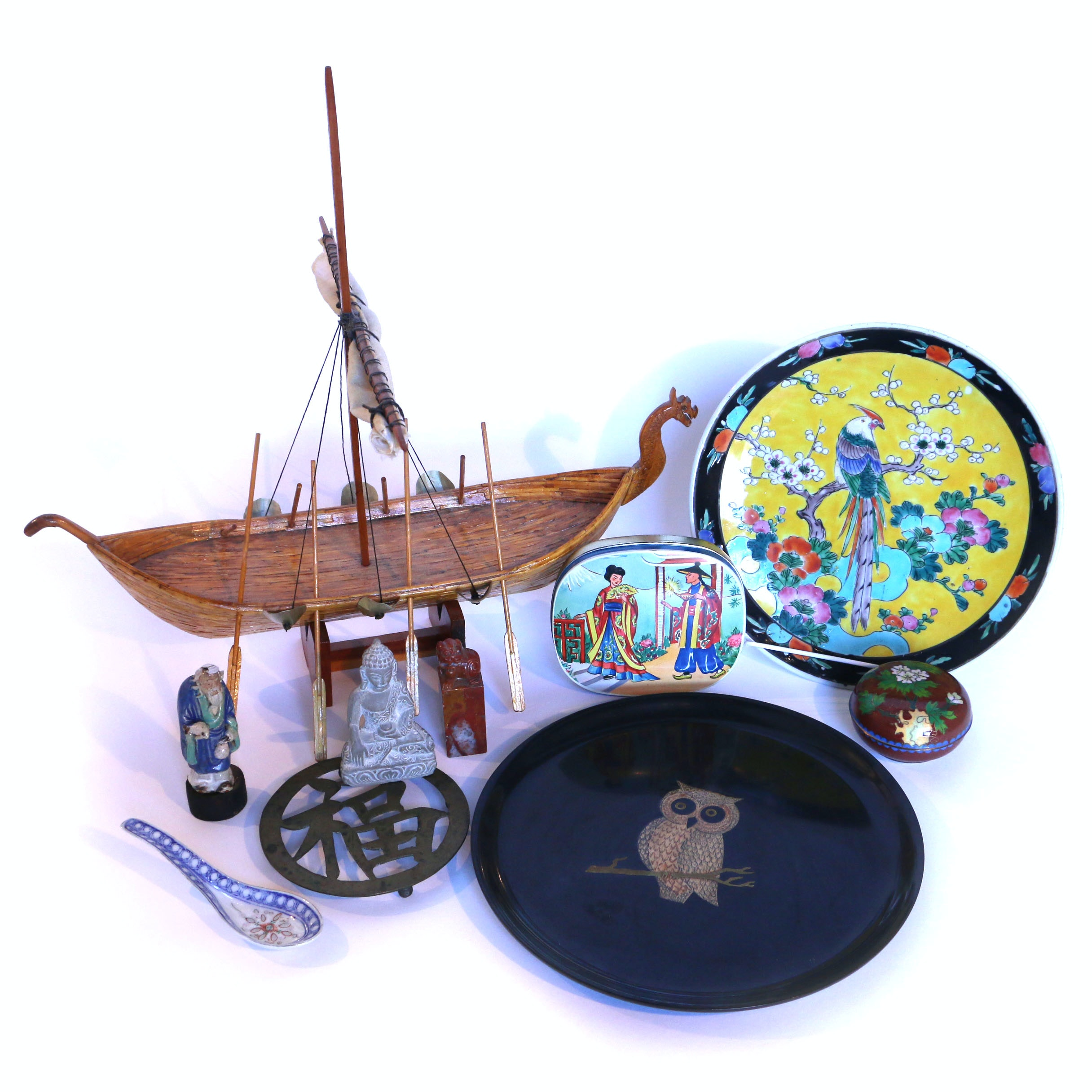 Collection of Asian Influenced Decor including Cloisonne